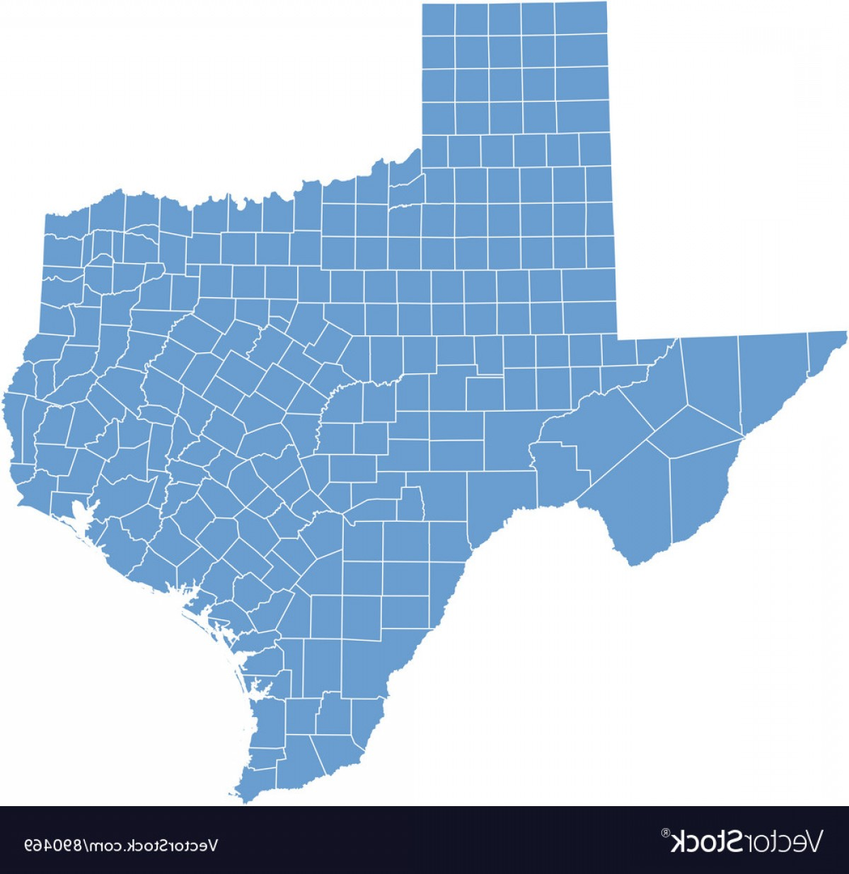 Texas Counties Map Vector: State Map Of Texas By Counties Vector