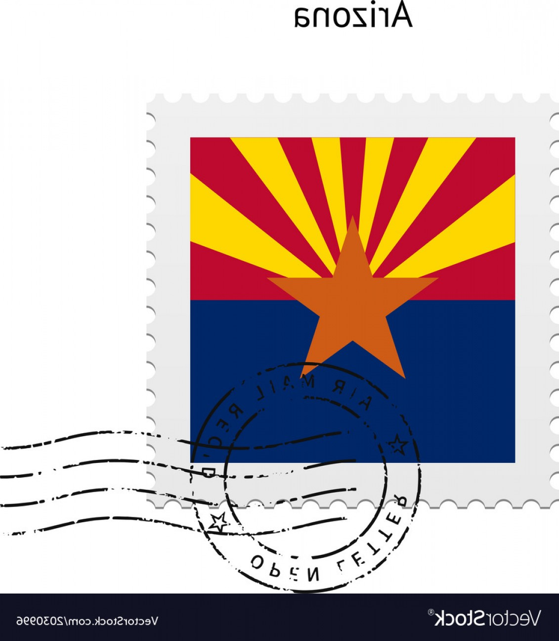 Arizona Flag Vector: State Of Arizona Flag Postage Stamp Vector