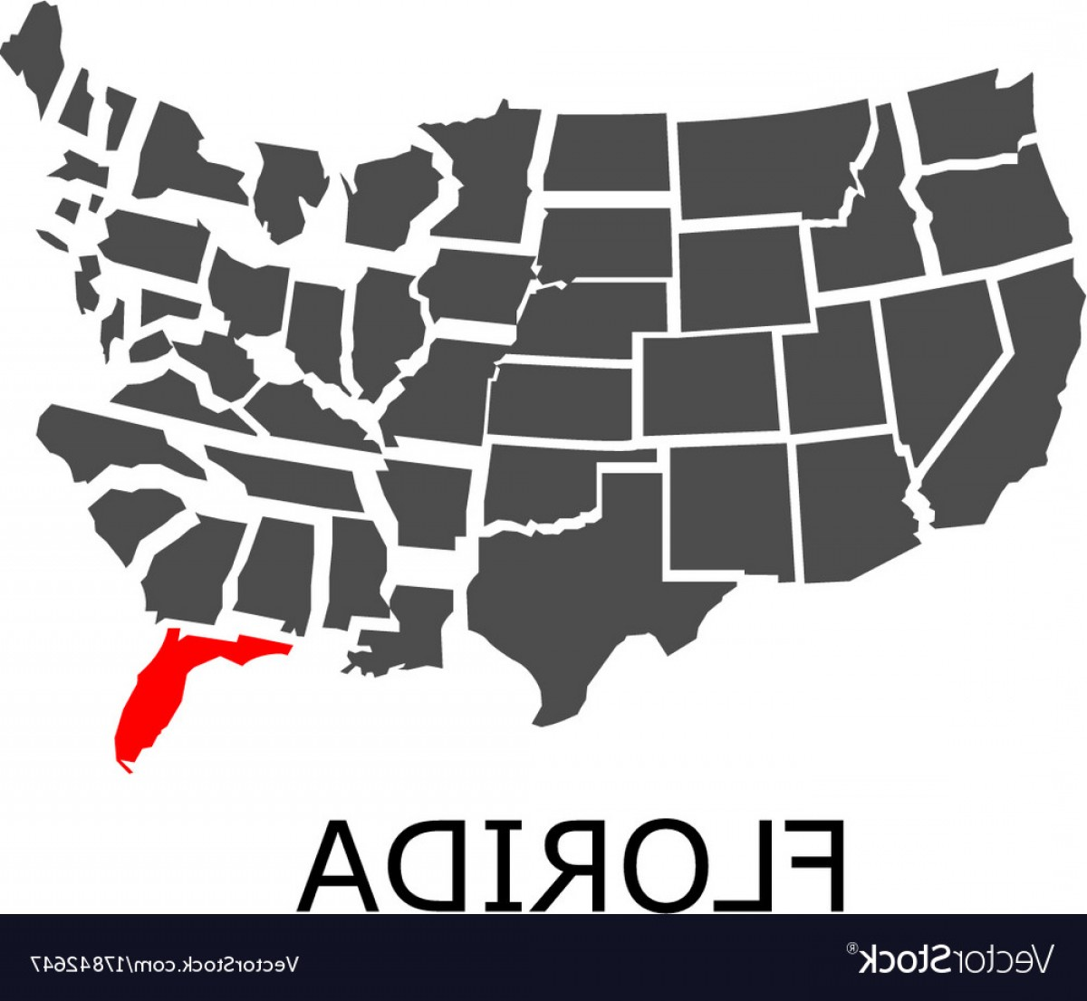 Florida License Plate Vector Art: State Of Florida On Map Of Usa Vector