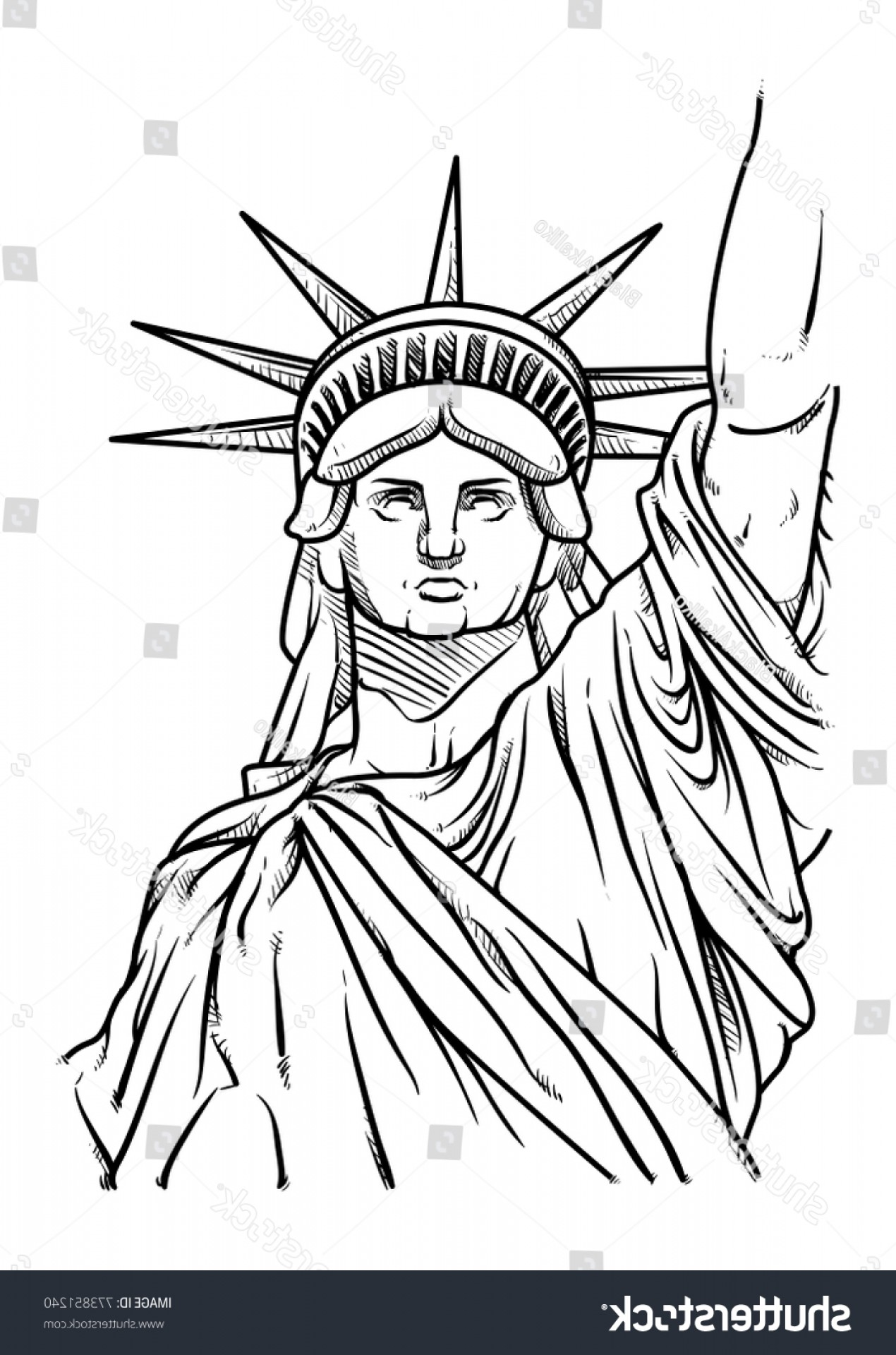 Statue Of Liberty Face Vector: Statue Liberty Hand Drawn Vector Illustration