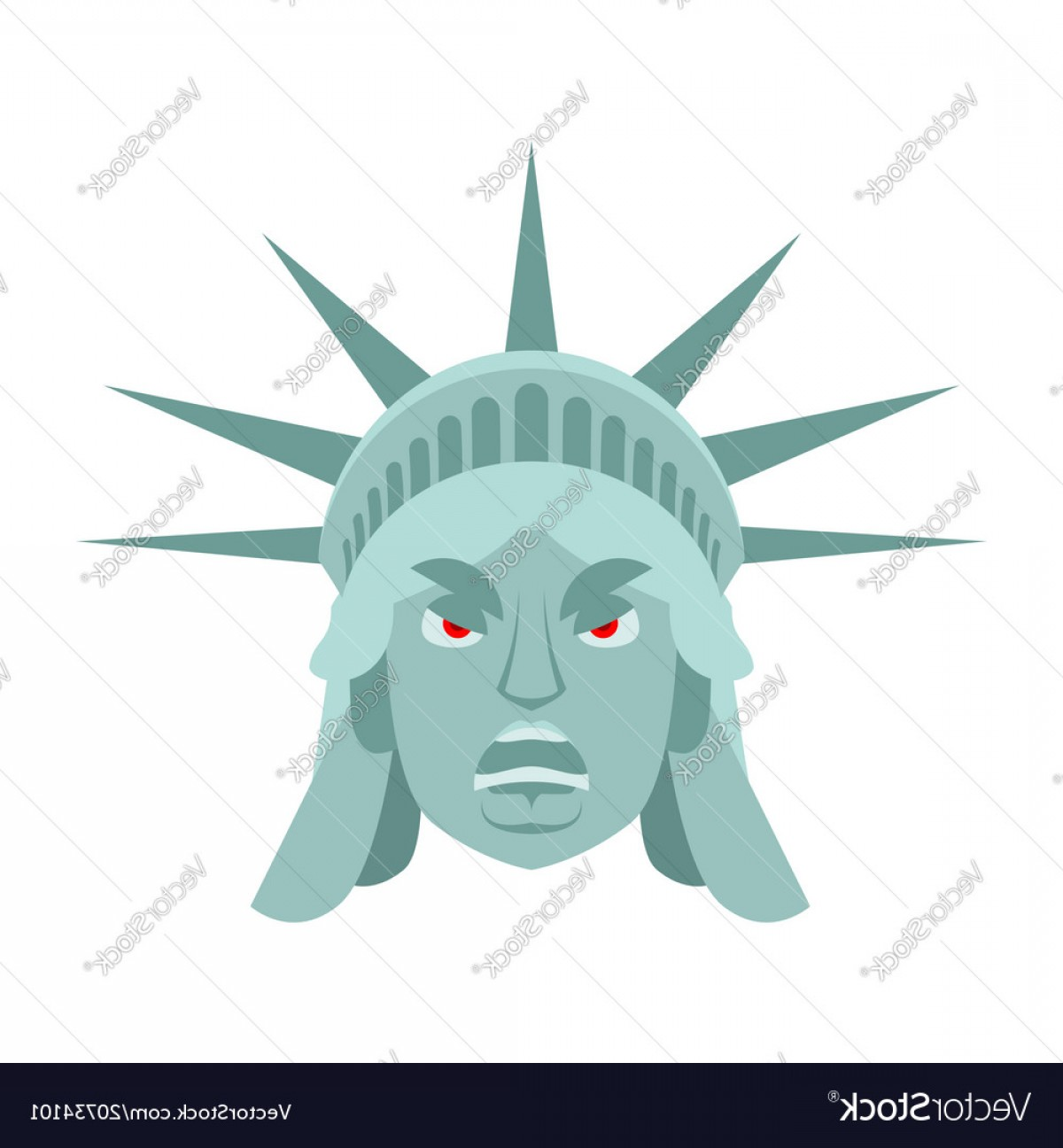 Statue Of Liberty Face Vector: Statue Of Liberty Angry Emoji Us Landmark Statue Vector