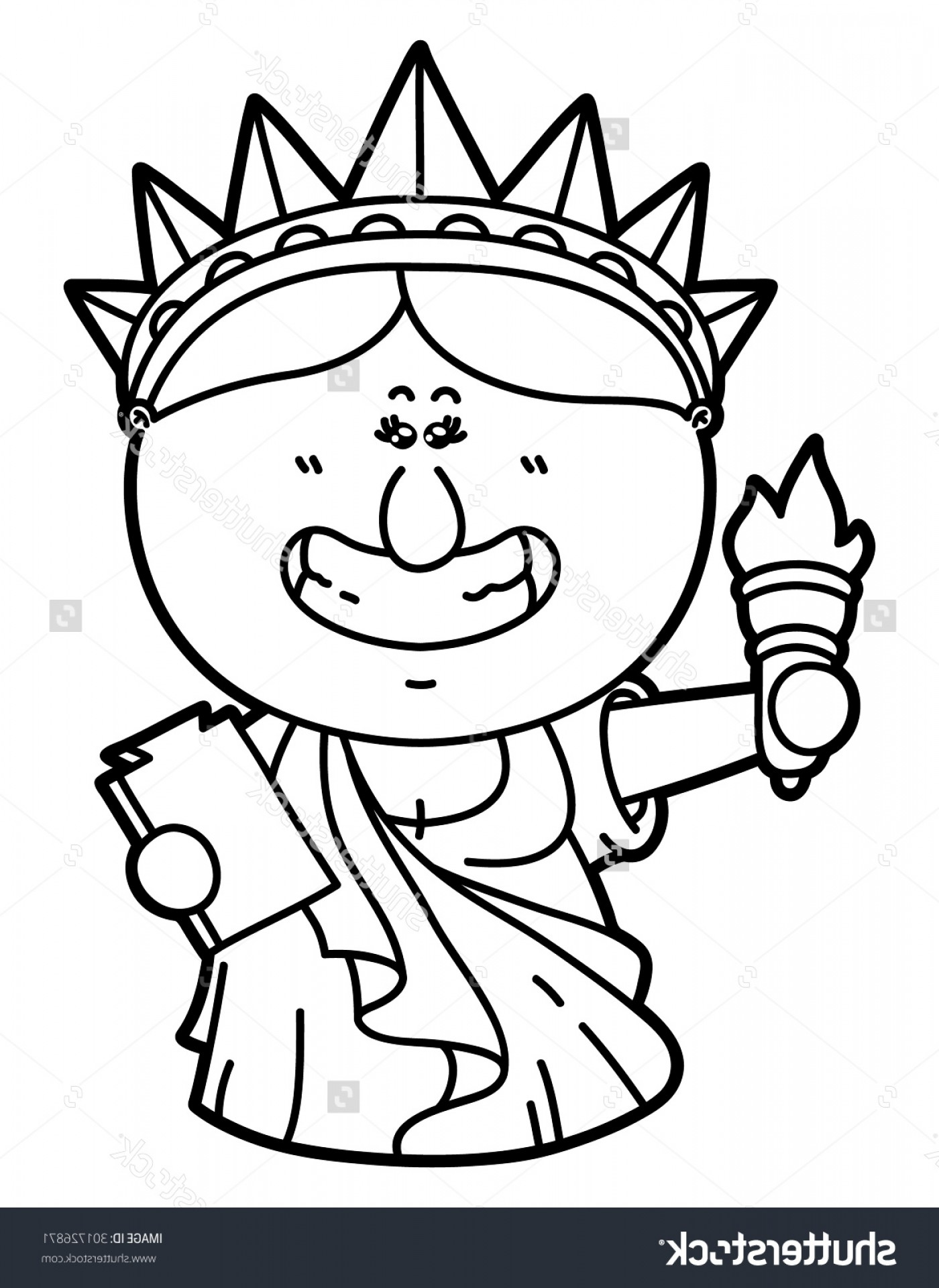 Statue Of Liberty Face Vector: Statue Of Liberty Cartoon Drawing Funny Statue Liberty Vector Illustration Coloring Stock Vector