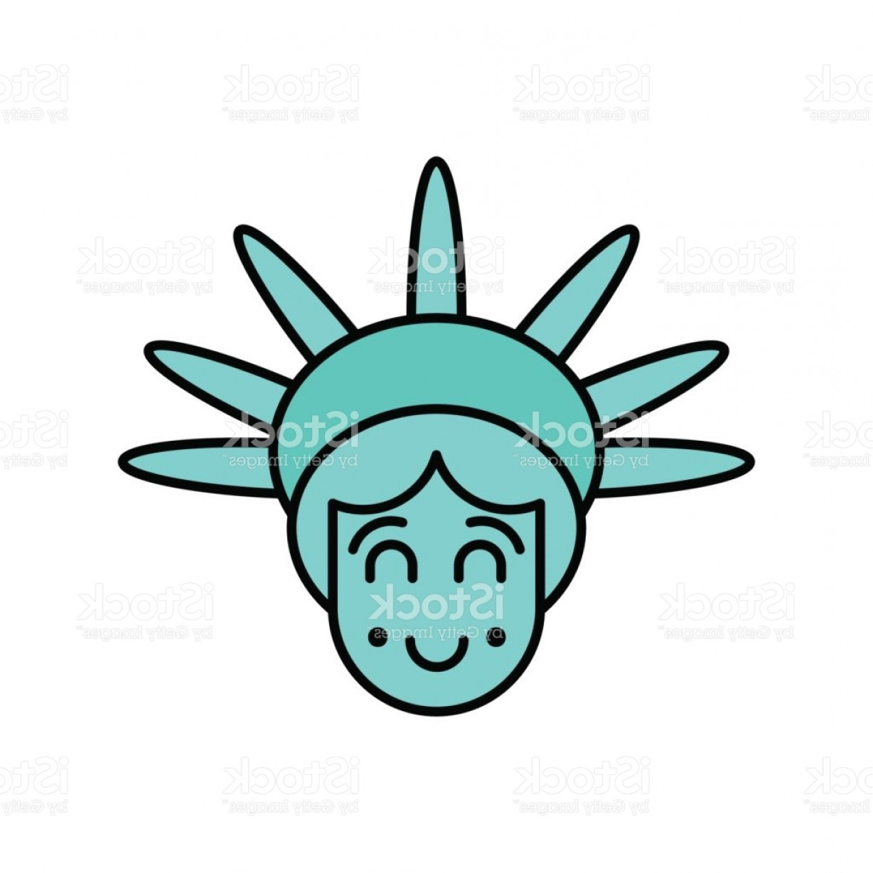 Statue Of Liberty Face Vector: Statue Of Liberty Face Emoji Sightseeing America Happy Head Of Sculpture Of United Gm