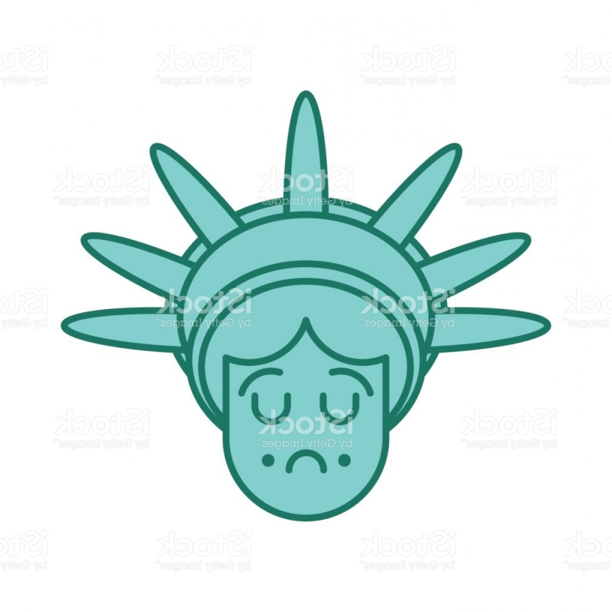 Statue Of Liberty Face Vector: Statue Of Liberty Face Emoji Sightseeing America Sad Head Of Sculpture Of United Gm