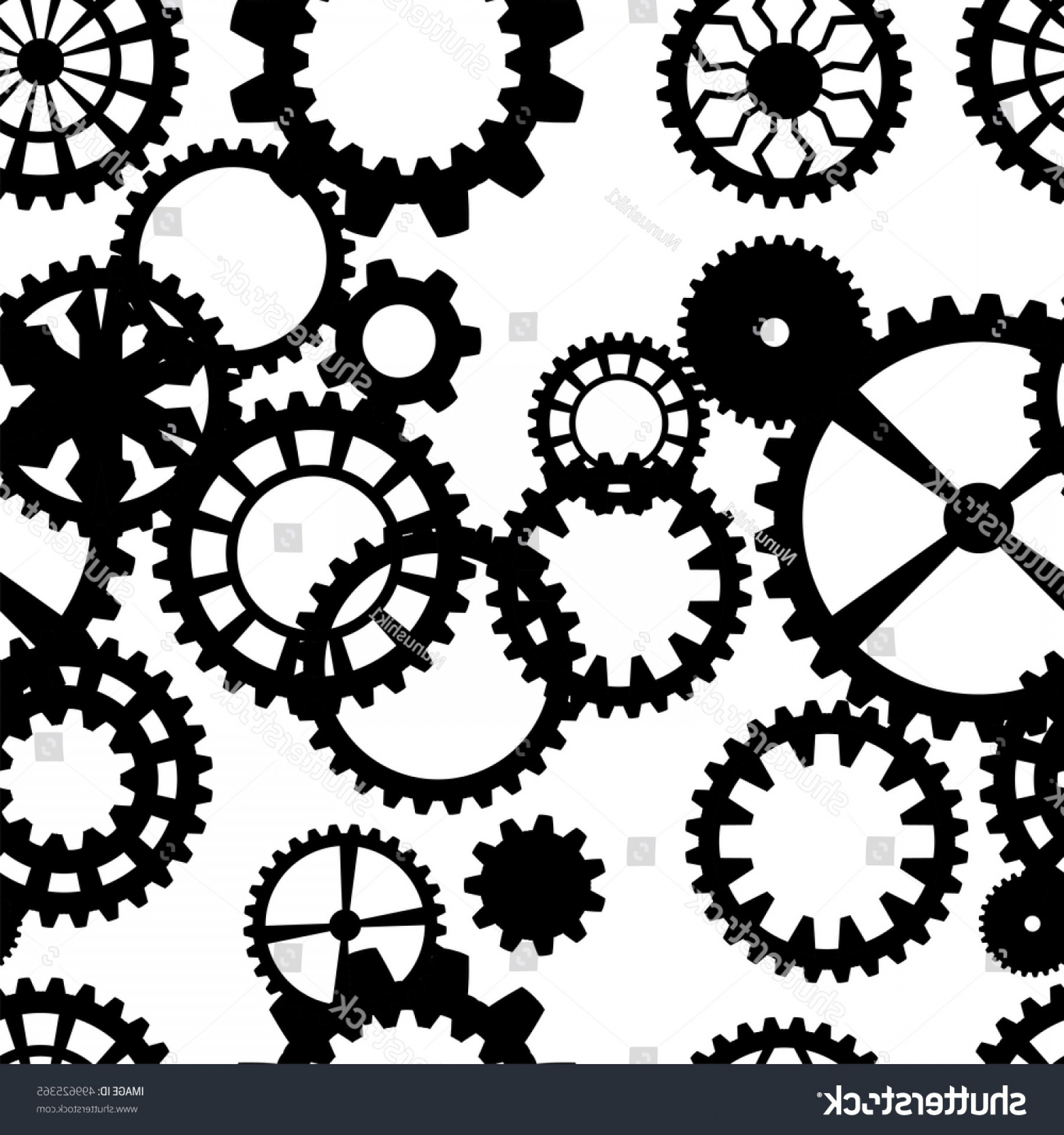 Vector Mechanical Clock Wheels: Steampunk Seamless Pattern Clock Wheels