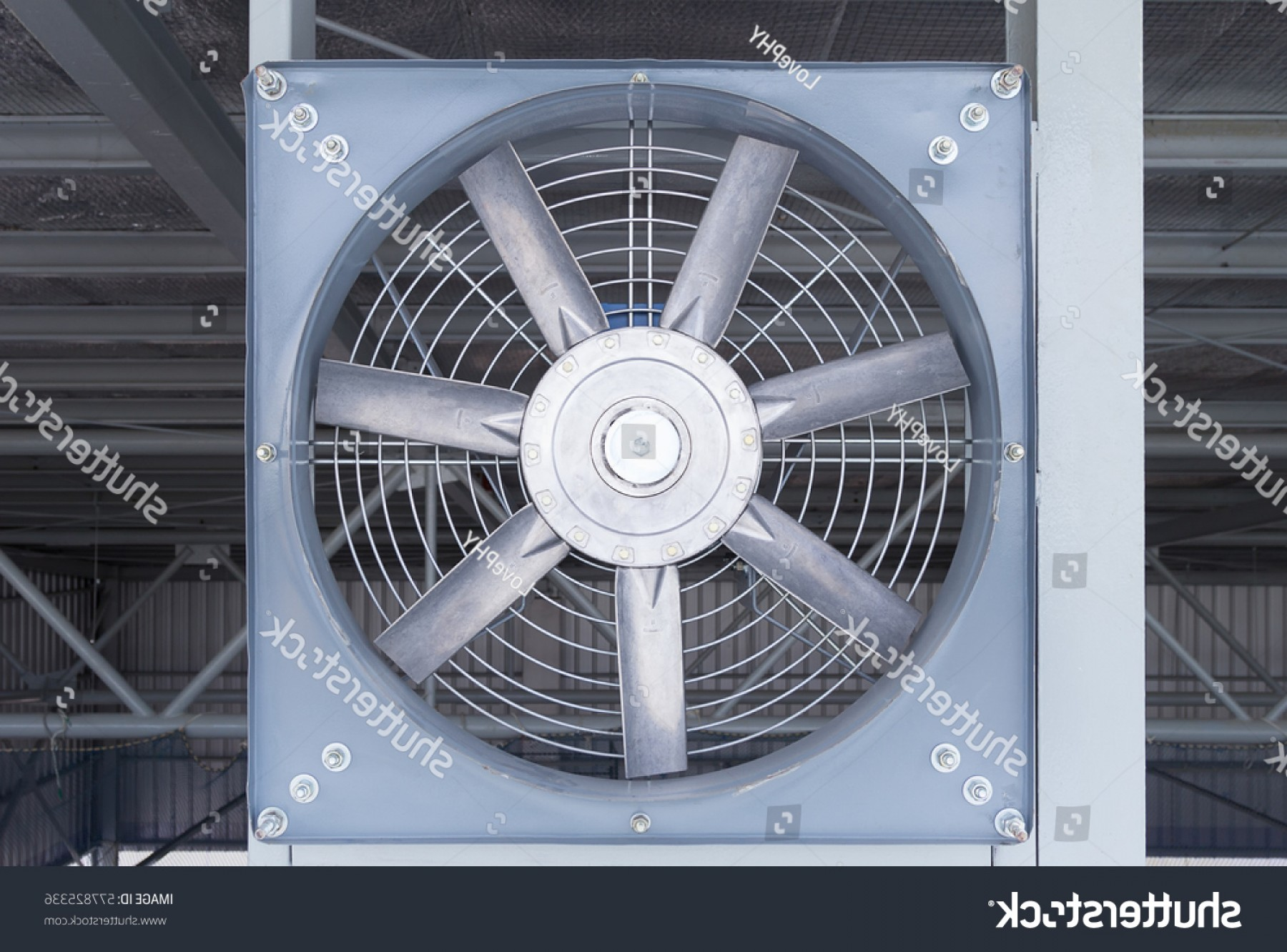 Air Conditioners Stabilizer Vector: Steel Fan On Structure Ventilation System