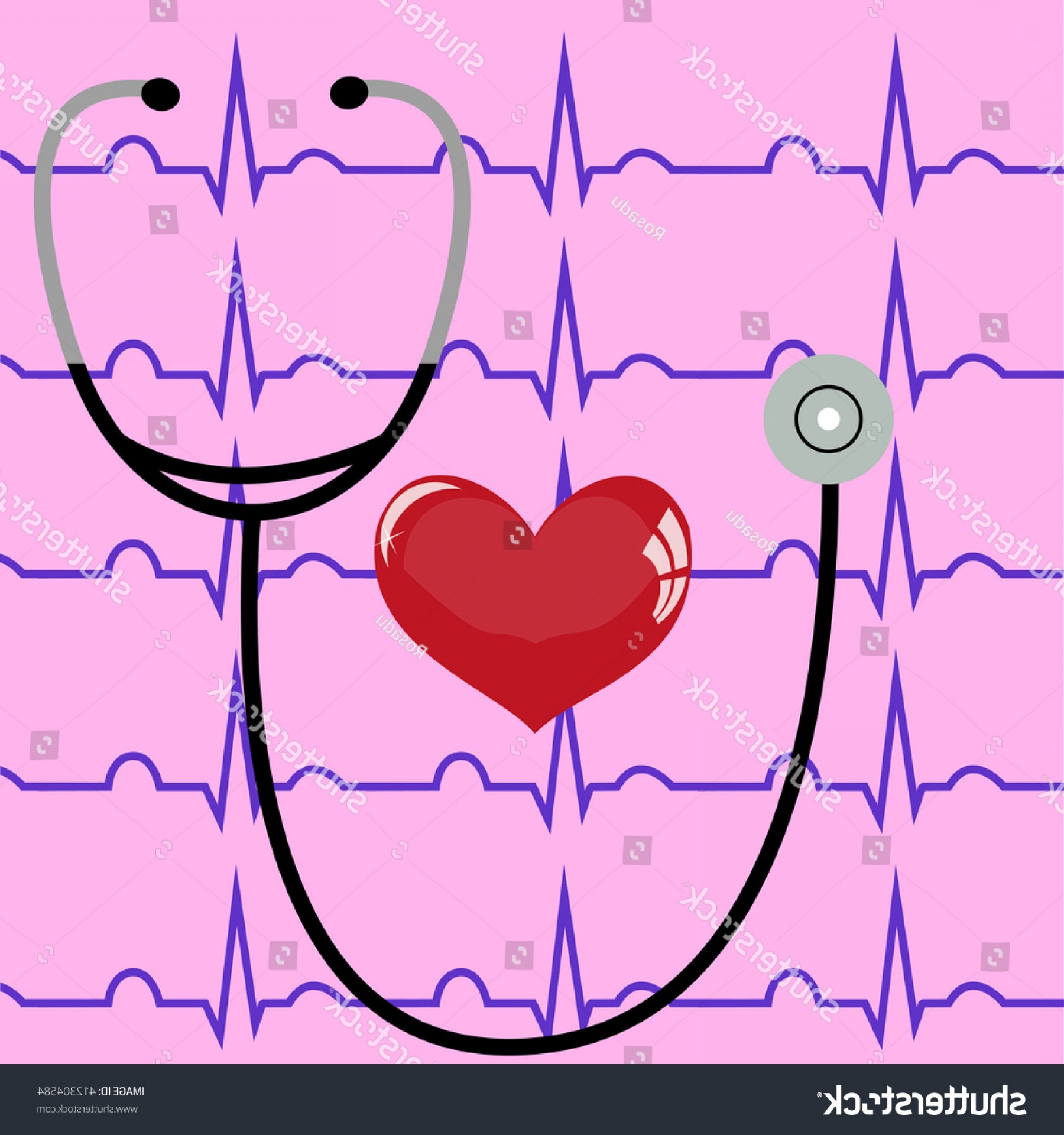 Heart Stethoscope With EKG Lines Vector: Stethoscope Heart On Pink Background Ecg