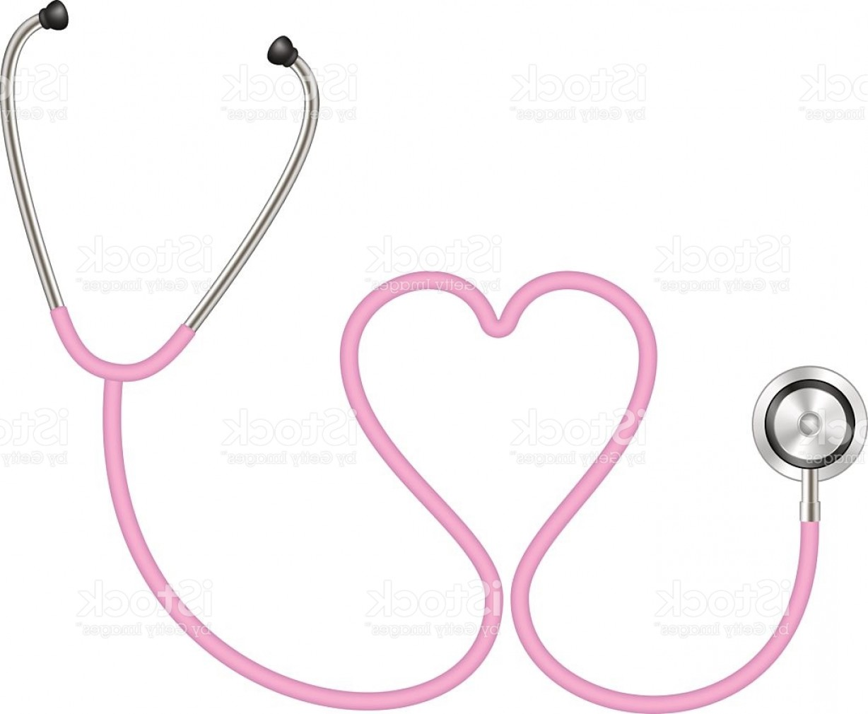 Stethoscope With Heart Vector Art: Stethoscope In Shape Of Heart In Pink Design Gm