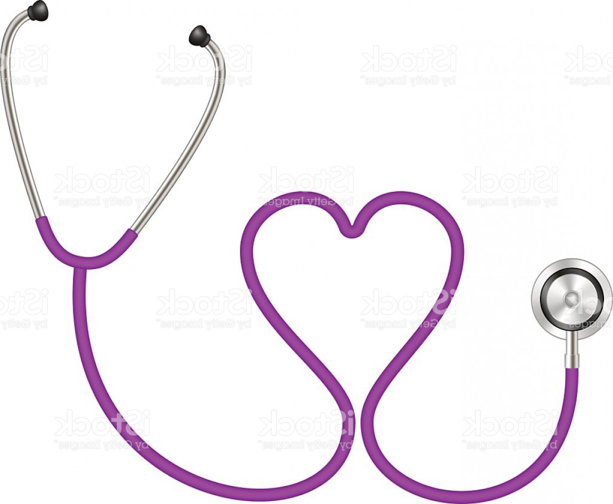Stethoscope With Heart Vector Art: Stethoscope In Shape Of Heart In Purple Design Gm