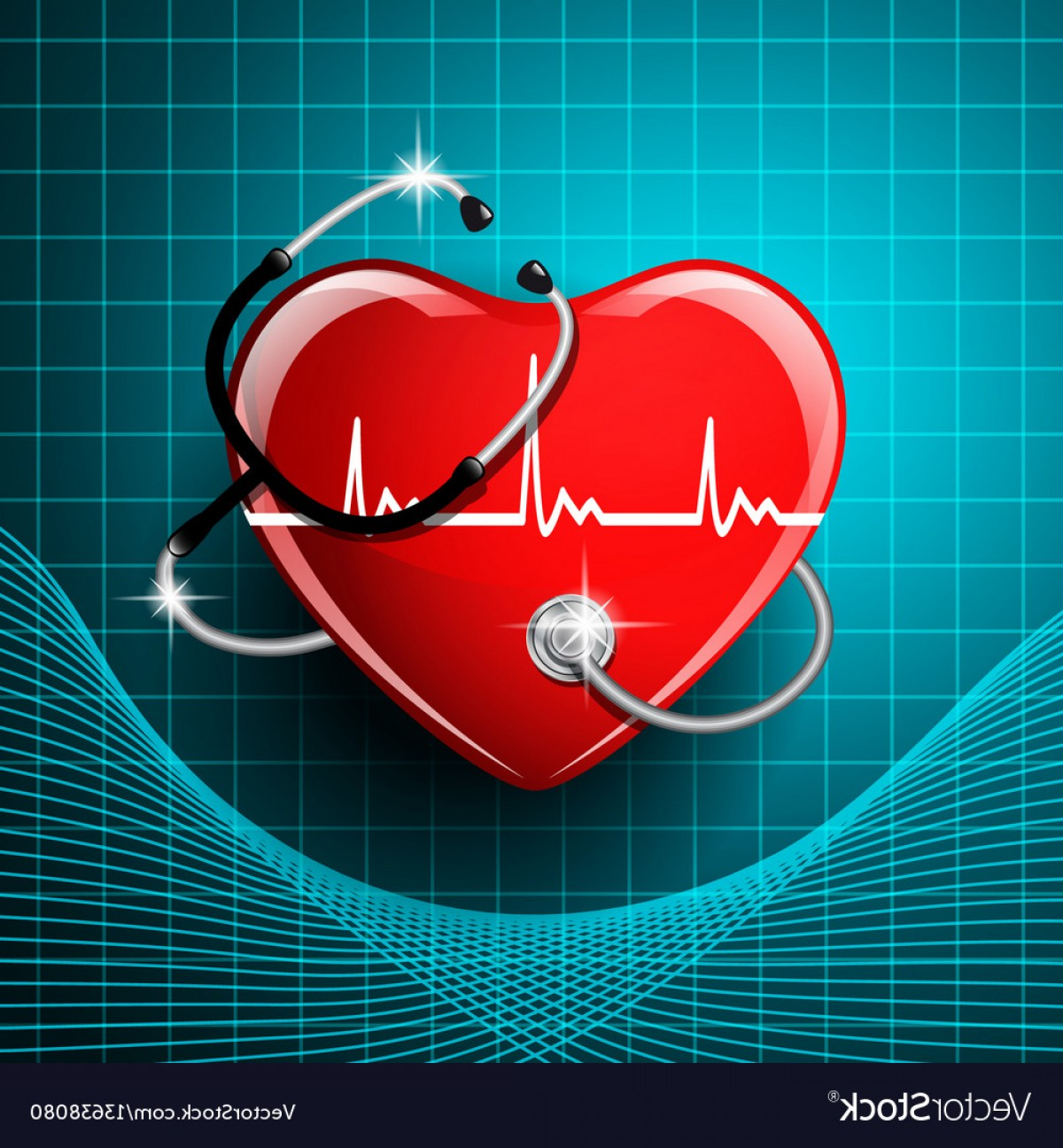 Stethoscope With Heart Vector Art: Stethoscope Medical Equipment Heart Shape Vector