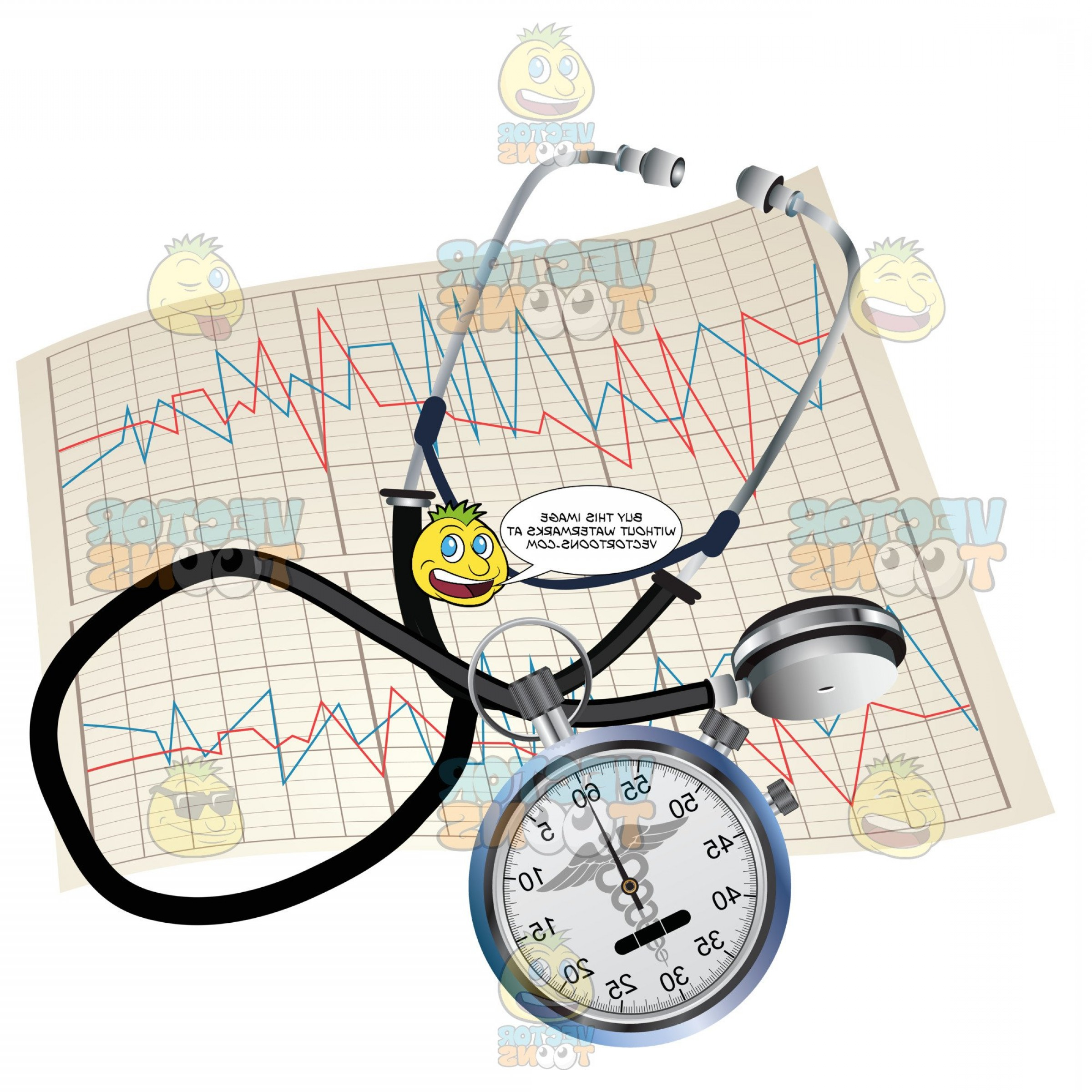 Stop Watch Vector Ai File: Stethoscope Stop Watch And A Print Out From An Ekg