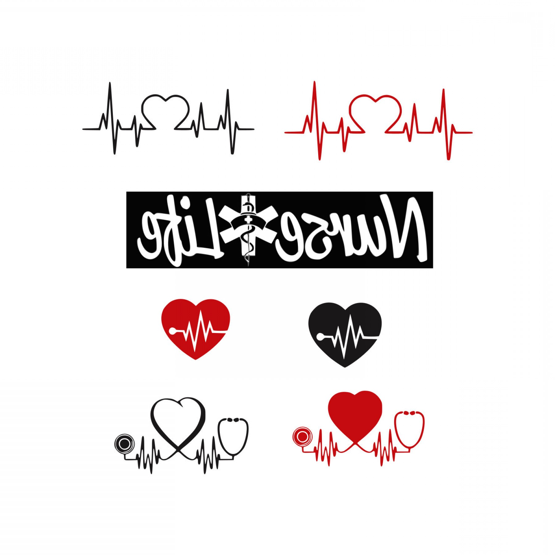 Nurse Vector Art SVG: Stethoscope Svg Nurse Life Svg Svg Files