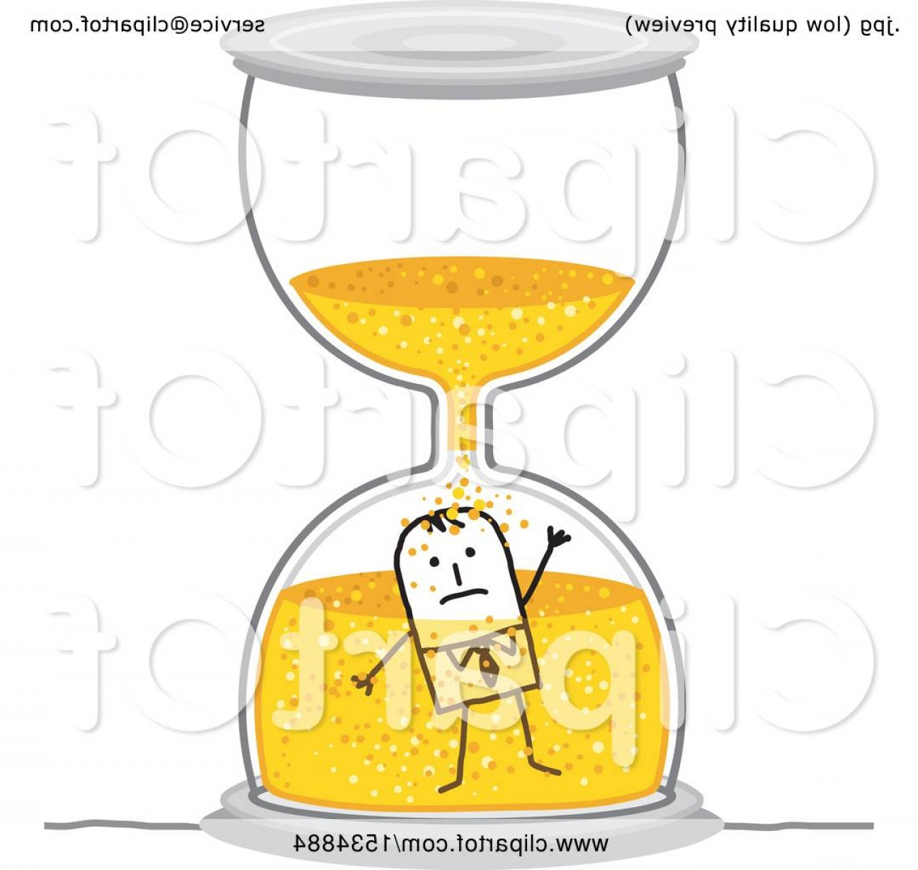 Man Drowning Vector: Stick Business Man Drowning In An Hourglass