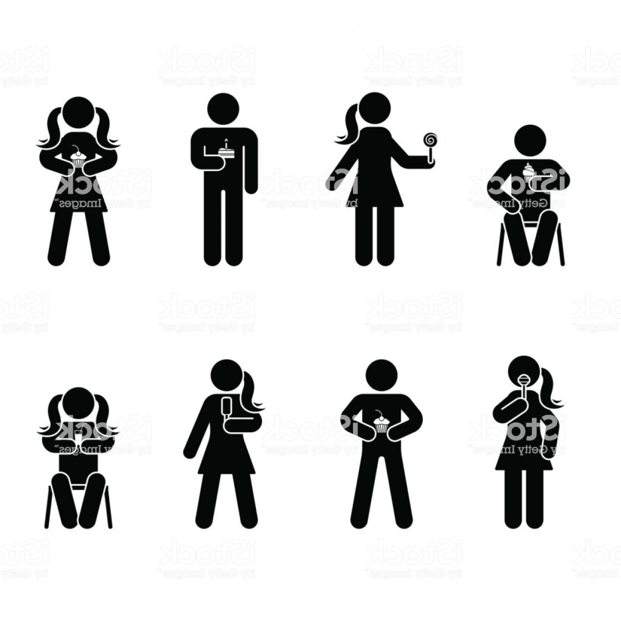 Stick Figure Positions Vector Set: Stick Figure Different Eating Position Set Vector Illustration Of Snack Person Icon Gm