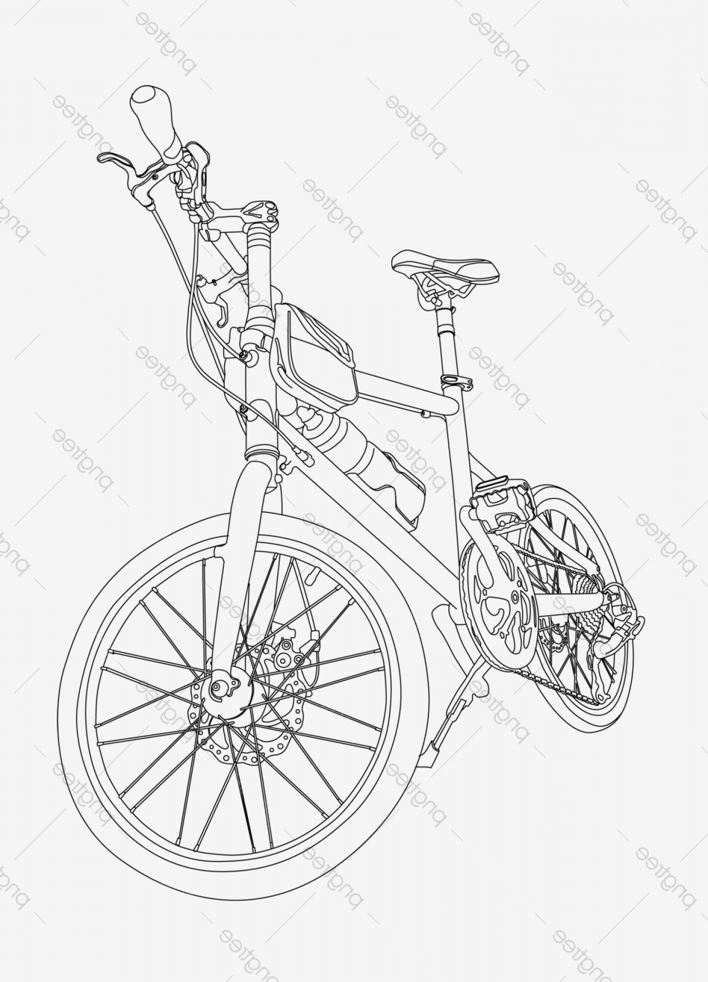 BMX Bike Tire Vector: Stick Figure Line Drawing Bmx Bicycle