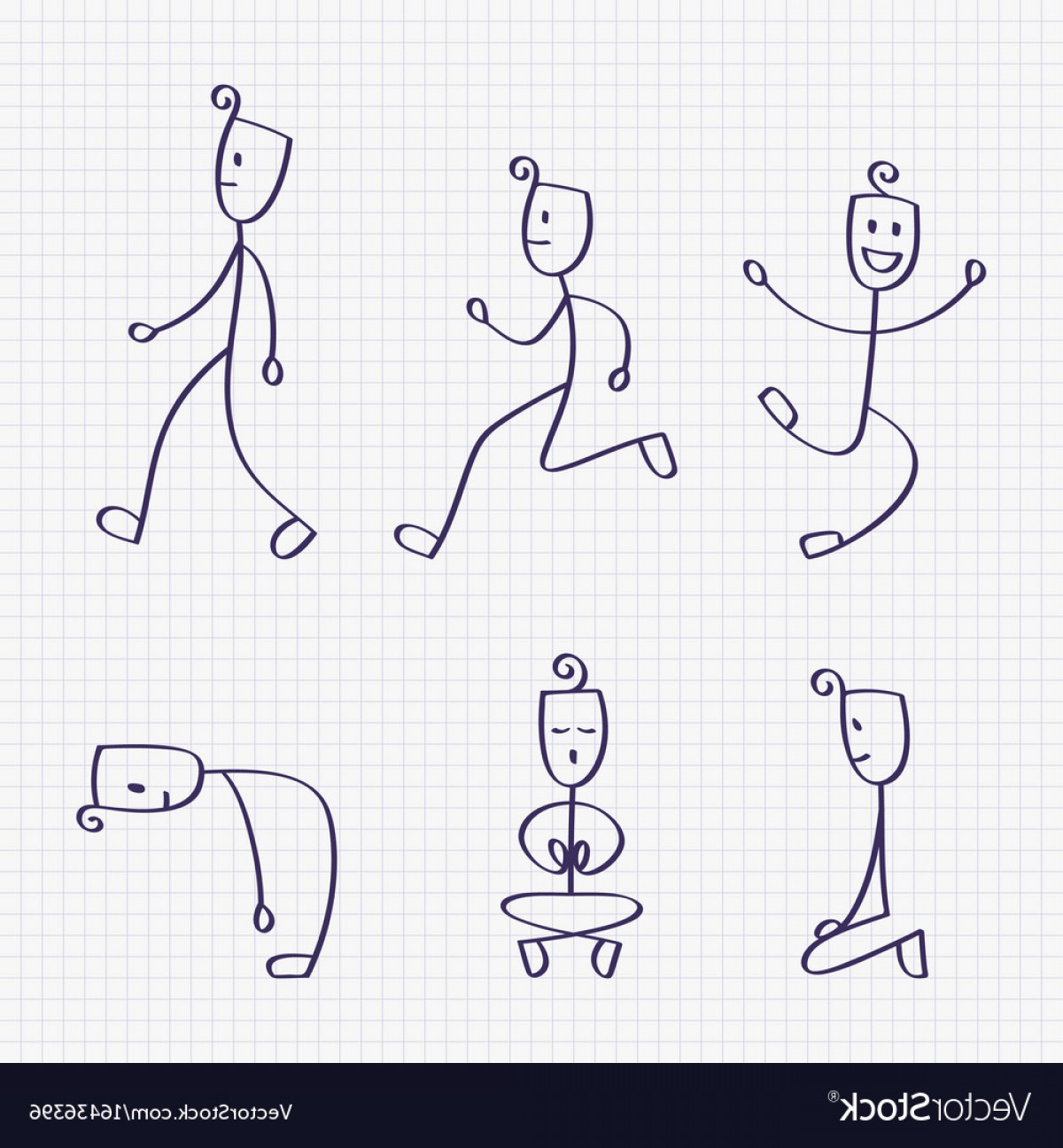 Vector Stick Figure Yoga Positions: Stick Figure Of Man With Different Poses Vector