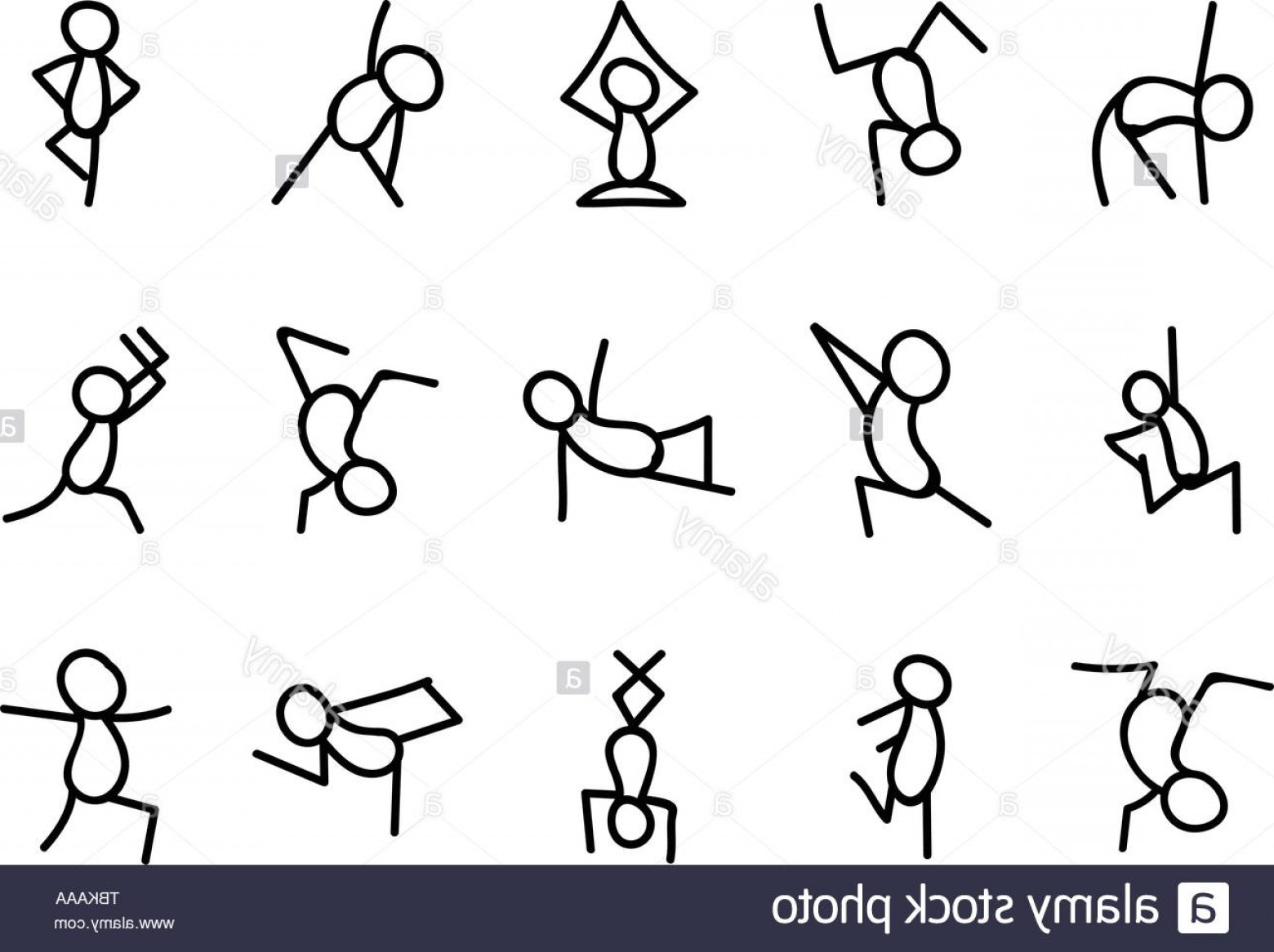 Vector Stick Figure Yoga Positions: Stick Figures In Yoga Set Simple Stylized Yoga Poses Icon Image