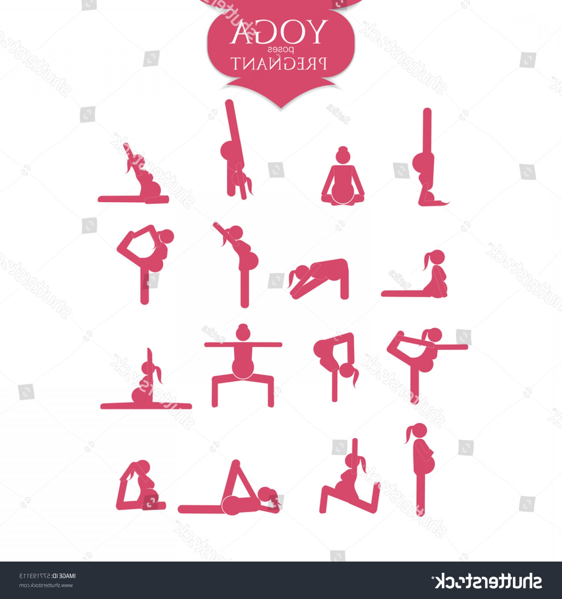 Vector Stick Figure Yoga Positions: Stick Figures Pregnant Woman Doing Yoga