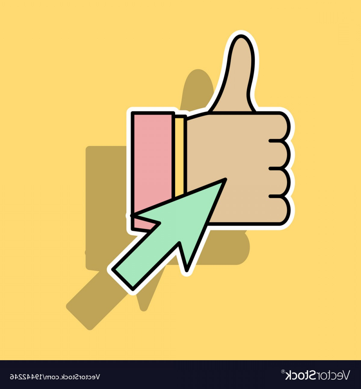 Finger Facebook Vector: Sticker Thumbs Up Like Social Network Facebook Vector