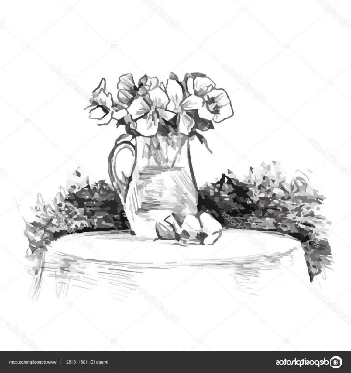 Vector Art Flowers In Vace: Stock Illustration A Bouquet Of Flowers In
