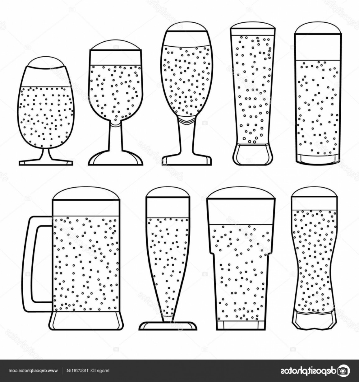 Beer Chalice Vector Logo: Stock Illustration A Set Glasses Of Beer
