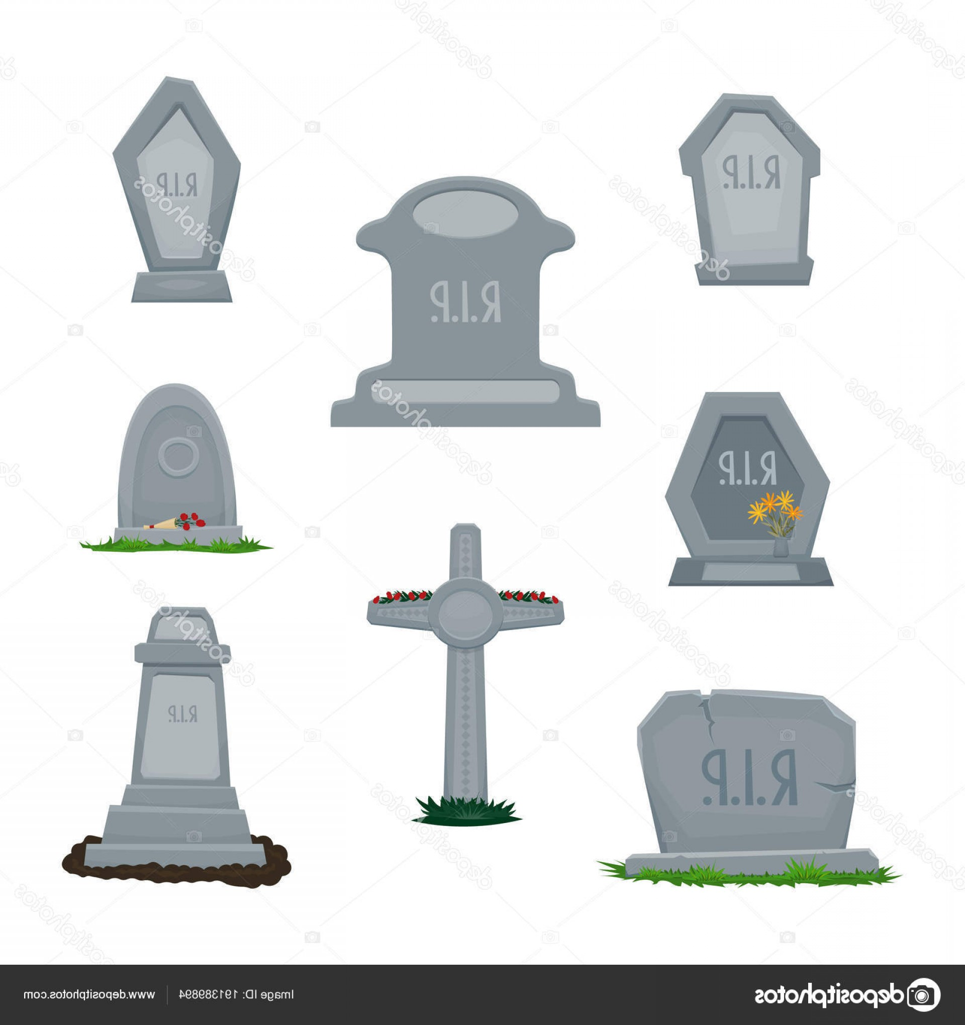 Gravestone With Flowers Vector: Stock Illustration A Set Of Tombstones Grave