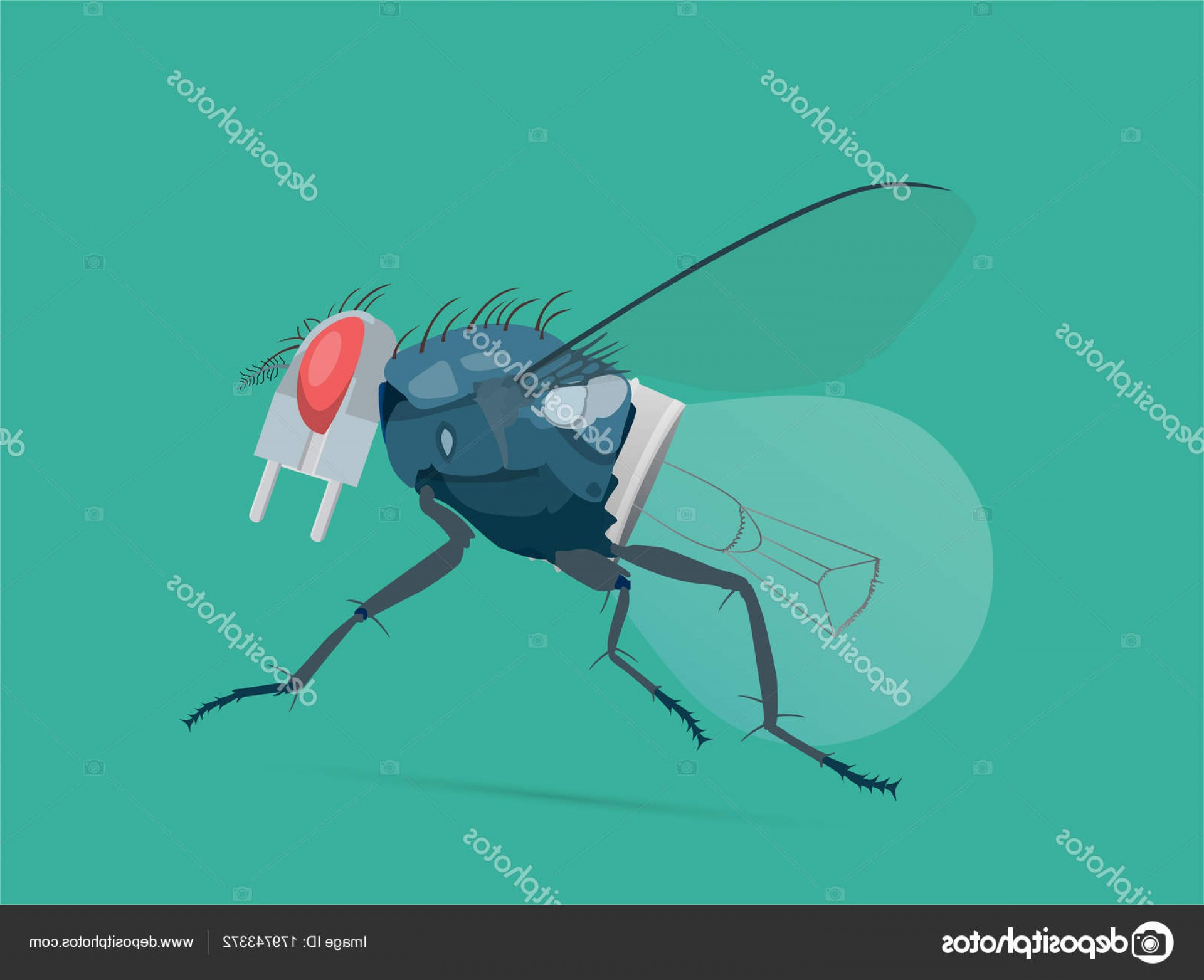 Vector Insect Light: Stock Illustration A Symbiose Concept Of A