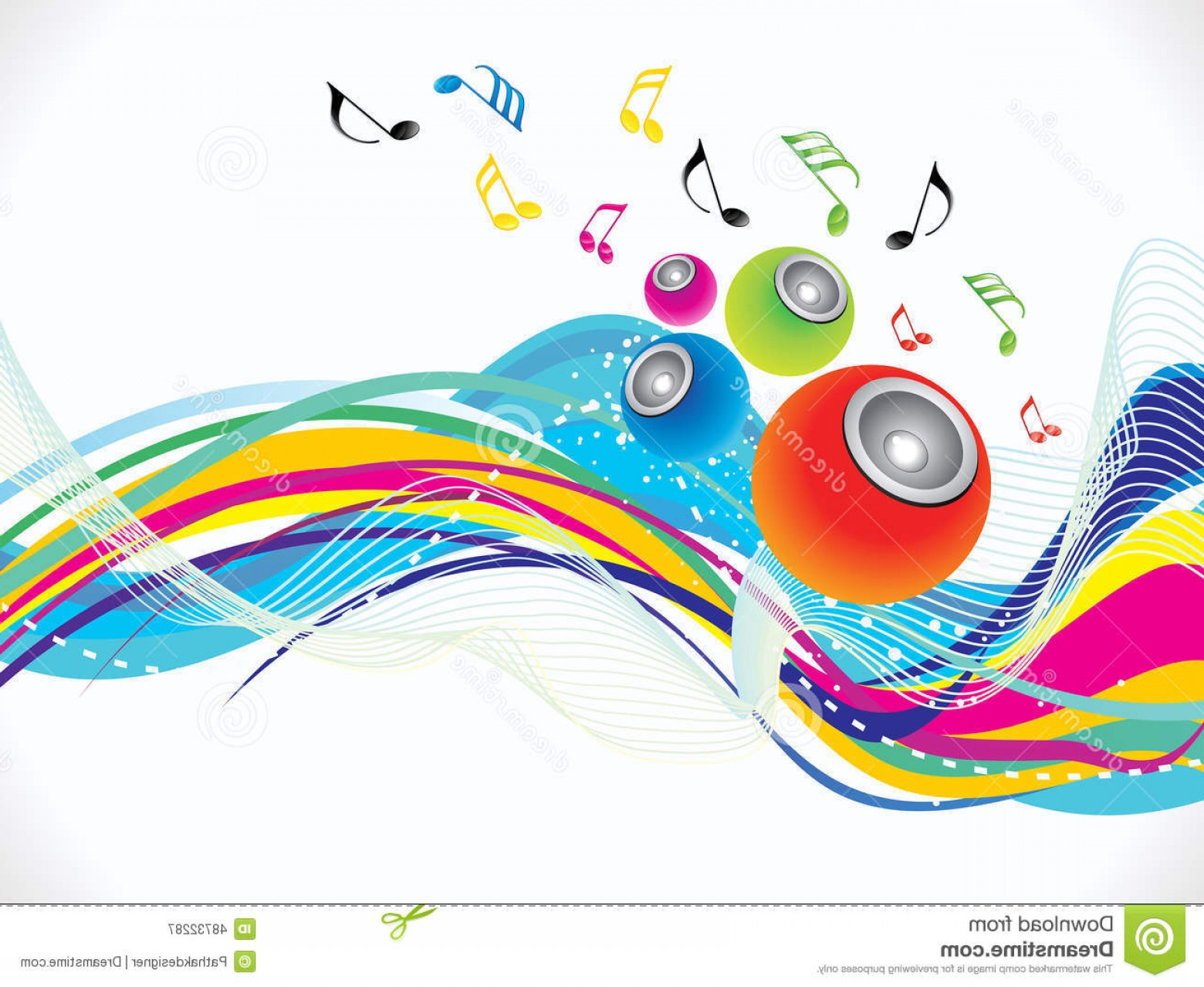Gospel Music Background Vector: Stock Illustration Abstract Colorful Musical Wave Background Vector Illustration Image