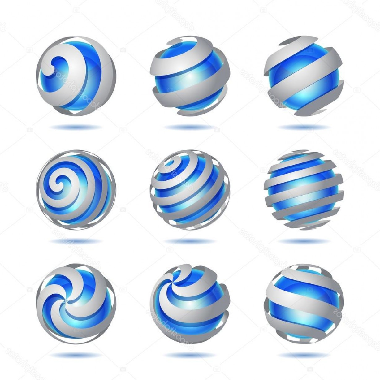 Vector Sphere Marble: Stock Illustration Abstract D Vector Sphere Set