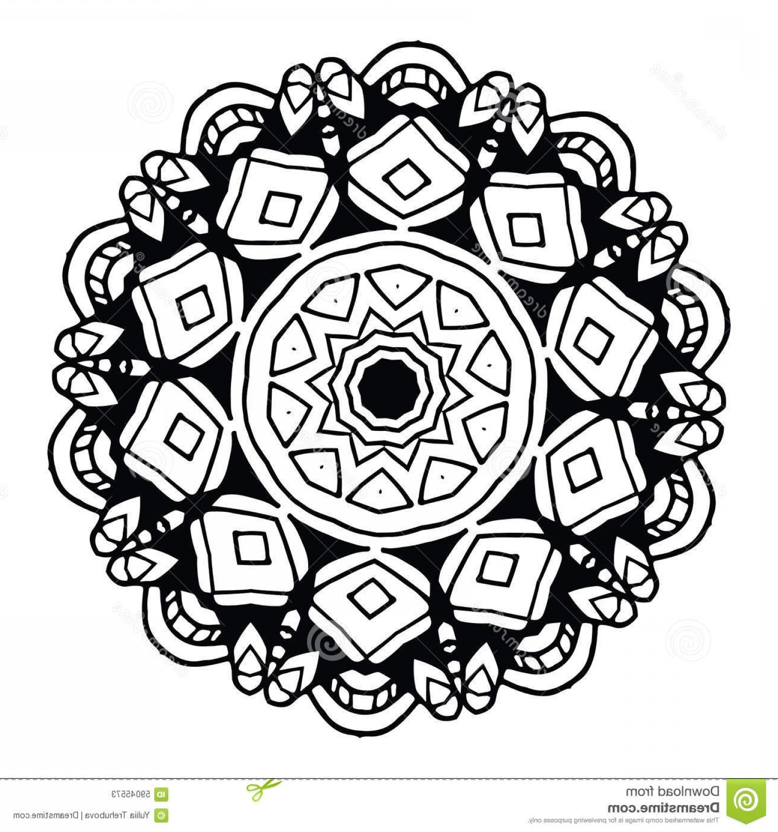 Black And White Circle Vector Graphics: Stock Illustration Abstract Design Black White Element Round Mandala Vector Graphic Template Your Design Circular Pattern Image