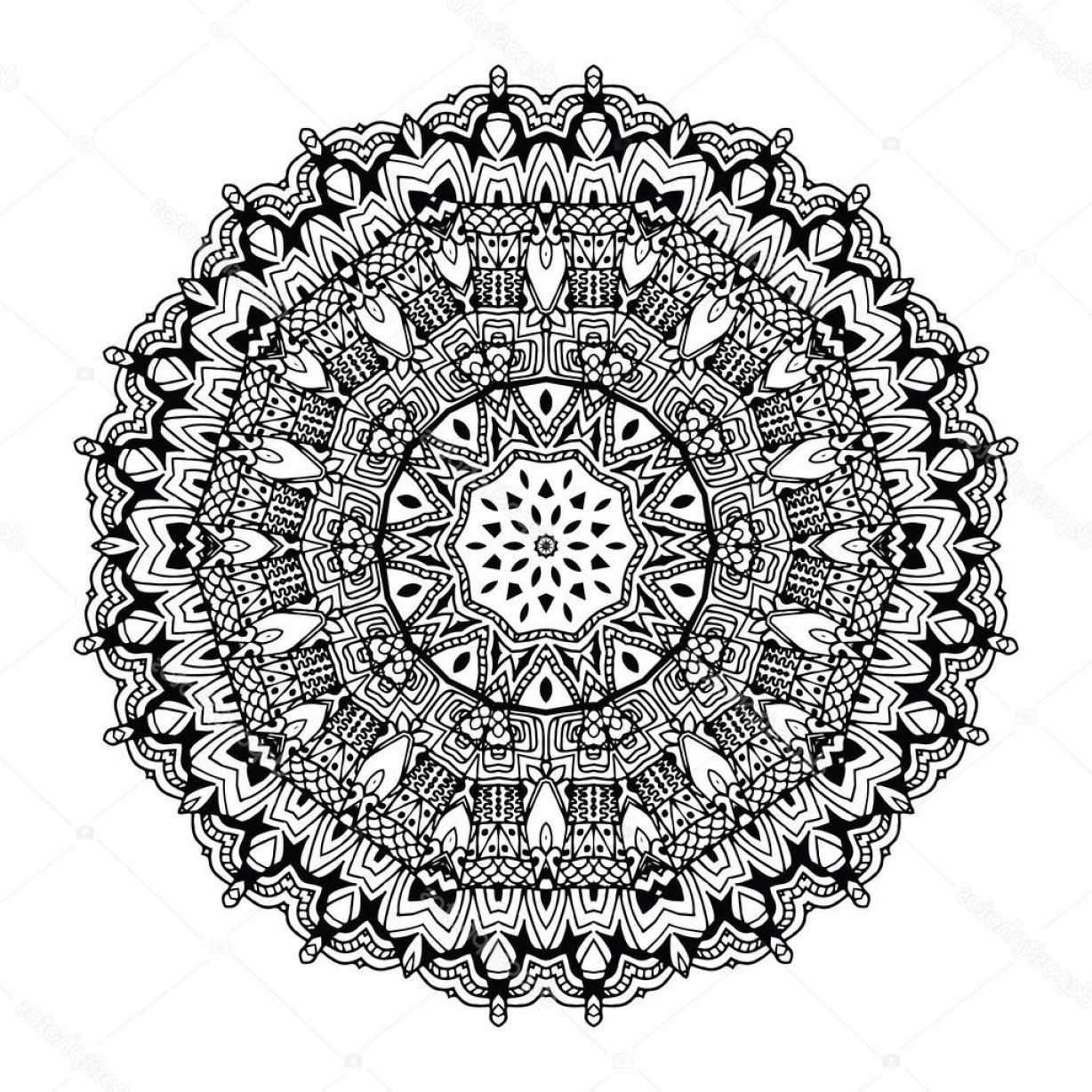 Black And White Circle Vector Graphics: Stock Illustration Abstract Design Black White Element