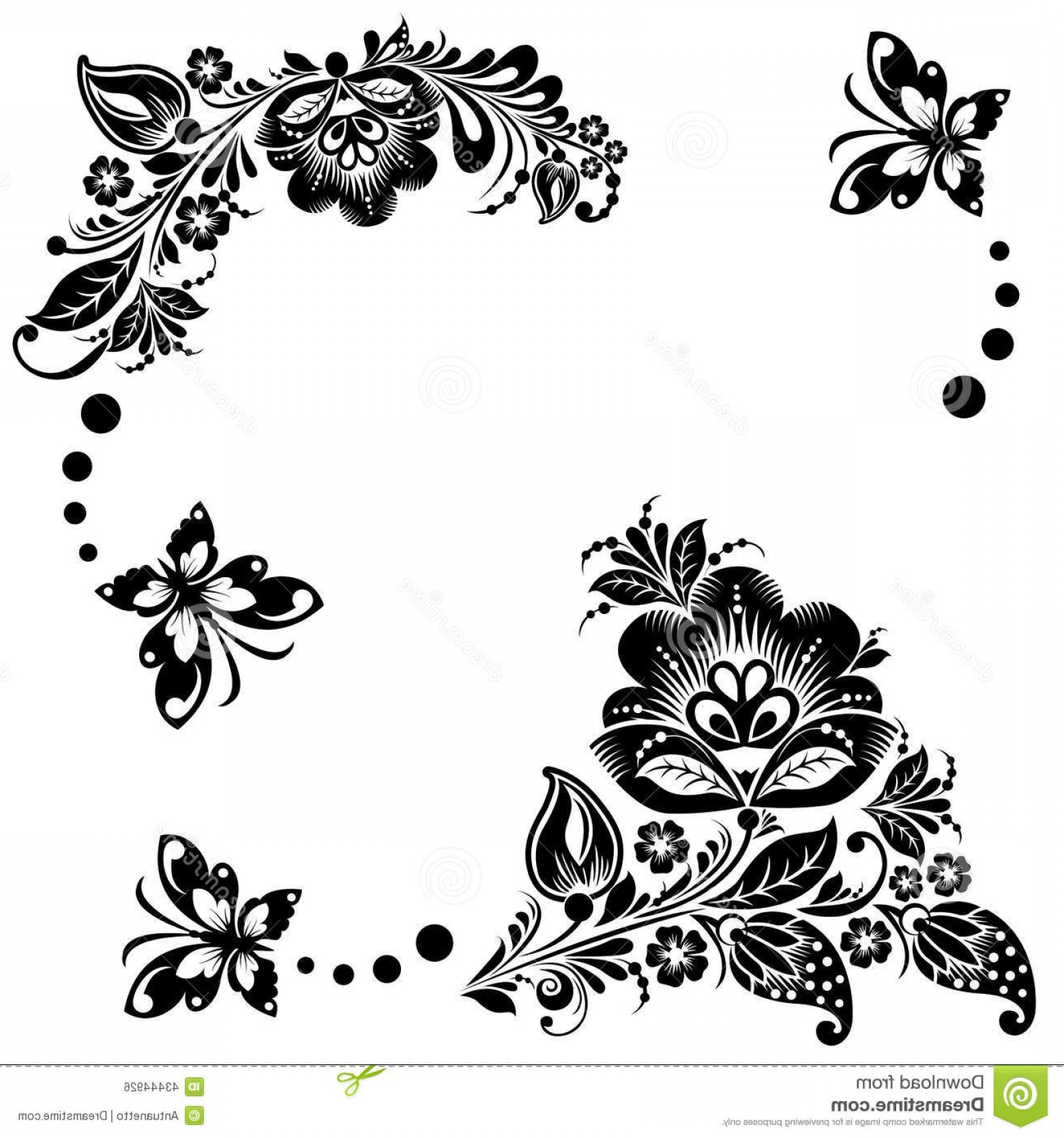 Butter Fly And Flower Vector Black And White: Stock Illustration Abstract Floral Background Butterflies Vector Elements Flower Black White Image