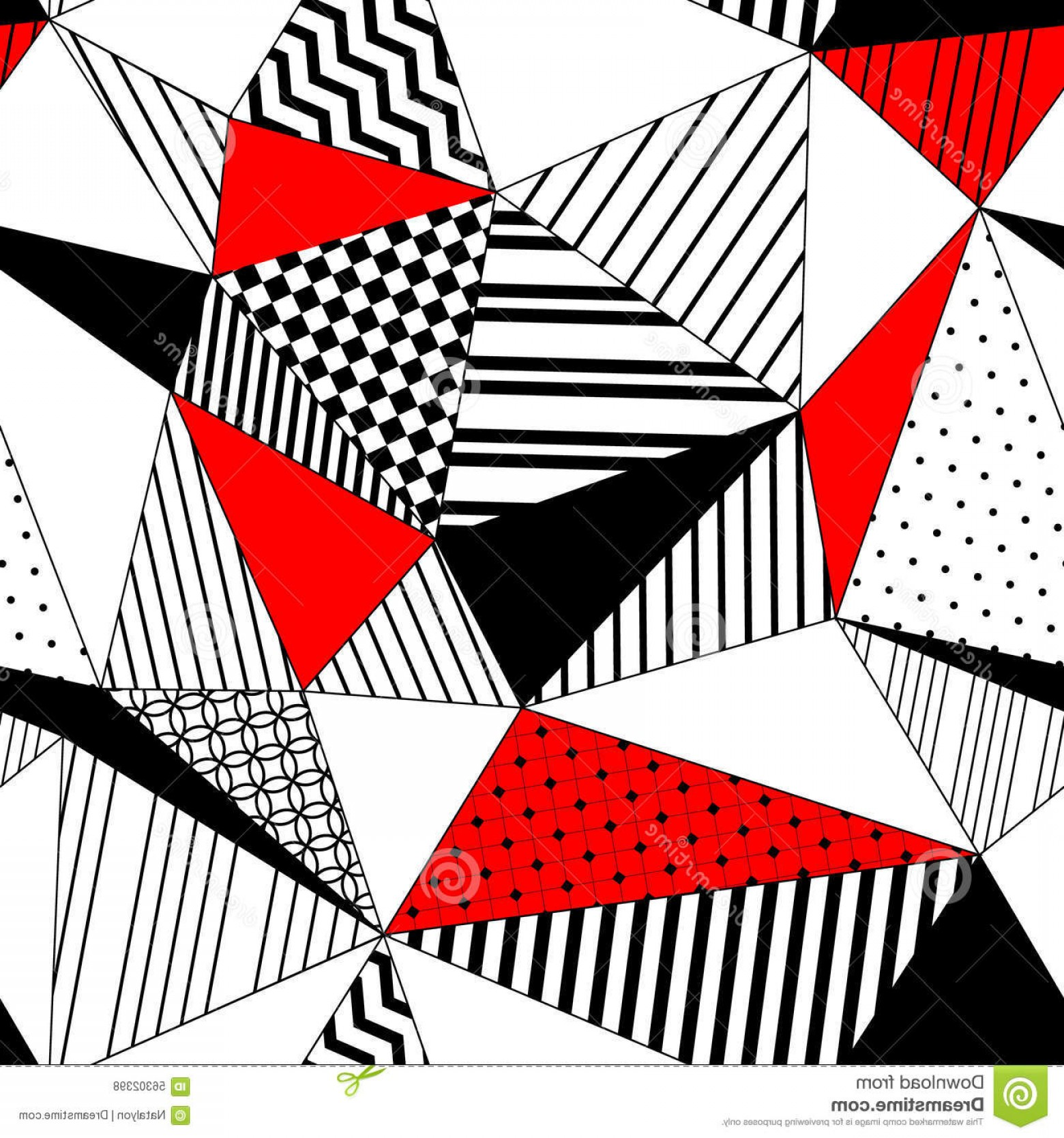 Red Black And White Vector Art: Stock Illustration Abstract Geometric Striped Triangles Seamless Pattern Black White Red Vector Background Image