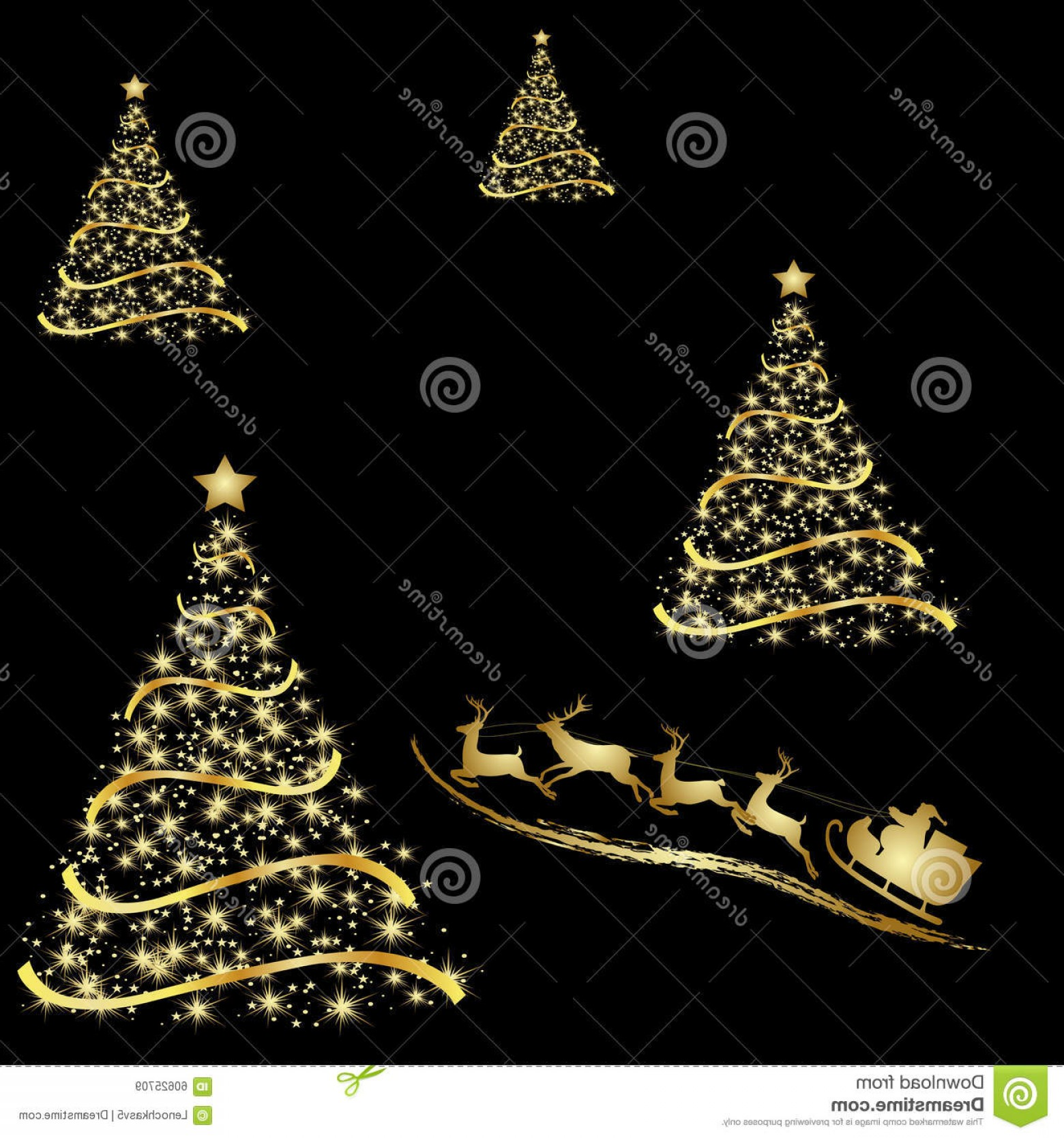Less Christmas Tree Abstract Vector Background: Stock Illustration Abstract Golden Christmas Tree Black Background Vector Eps Illustration Image