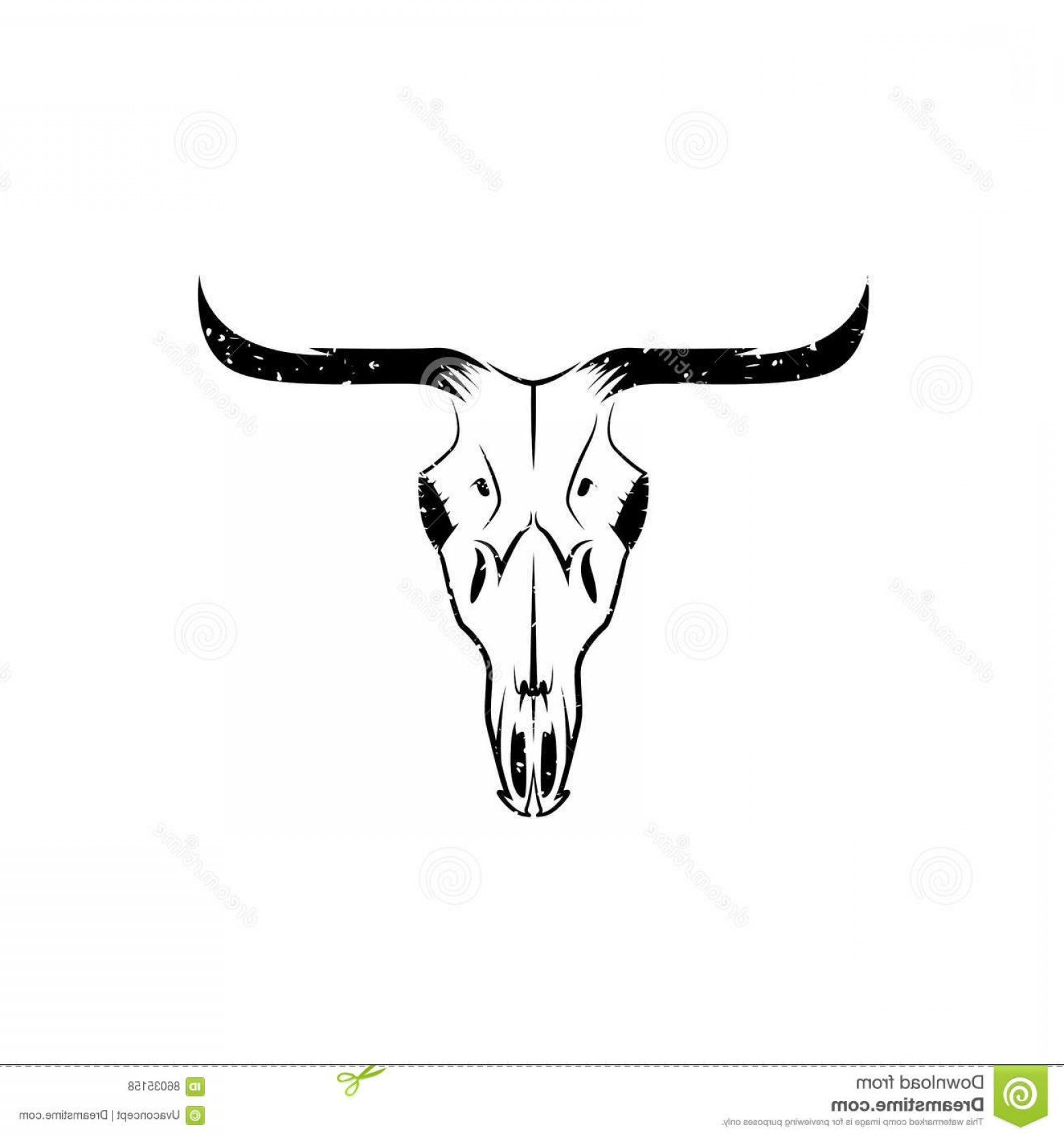 Longhorn Skull Vector: Stock Illustration Abstract Grunge Texas Cow Skull Vector Design Template Image