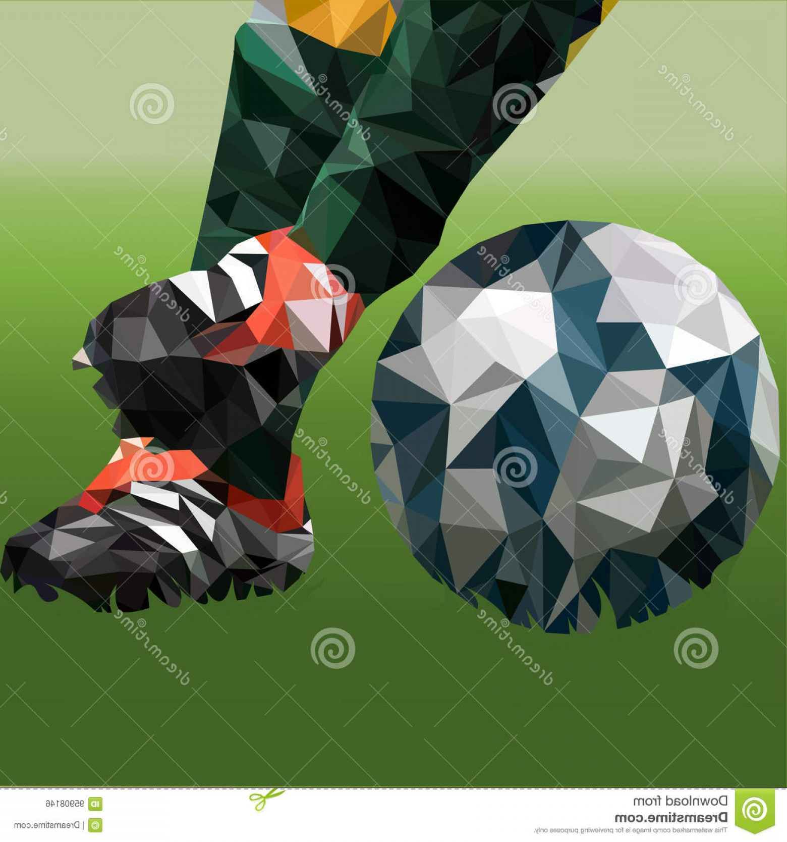 Abstract Football Vector Outline: Stock Illustration Abstract Illustration Theme Football Low Poly Technique Eps Image