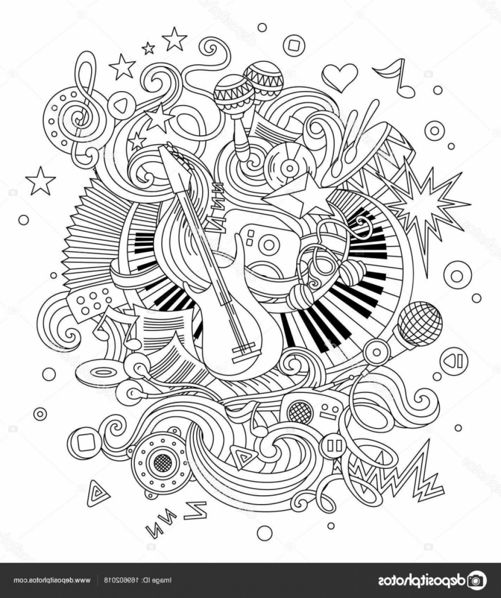 Musical Vector Artwork: Stock Illustration Abstract Music Background Collage With