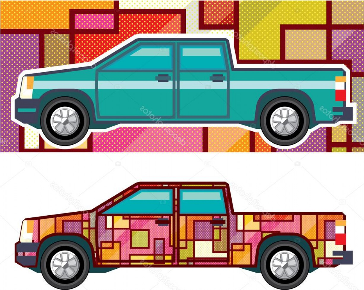 Vector Car Wrapped: Stock Illustration Abstract Shrink Wrapped Pickup Truck