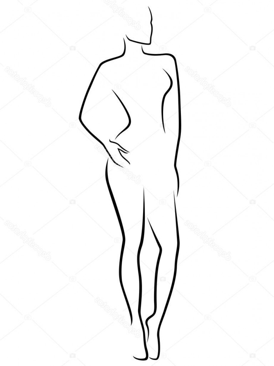 Human Body Outline Vector: Stock Illustration Abstract Slim Human Body
