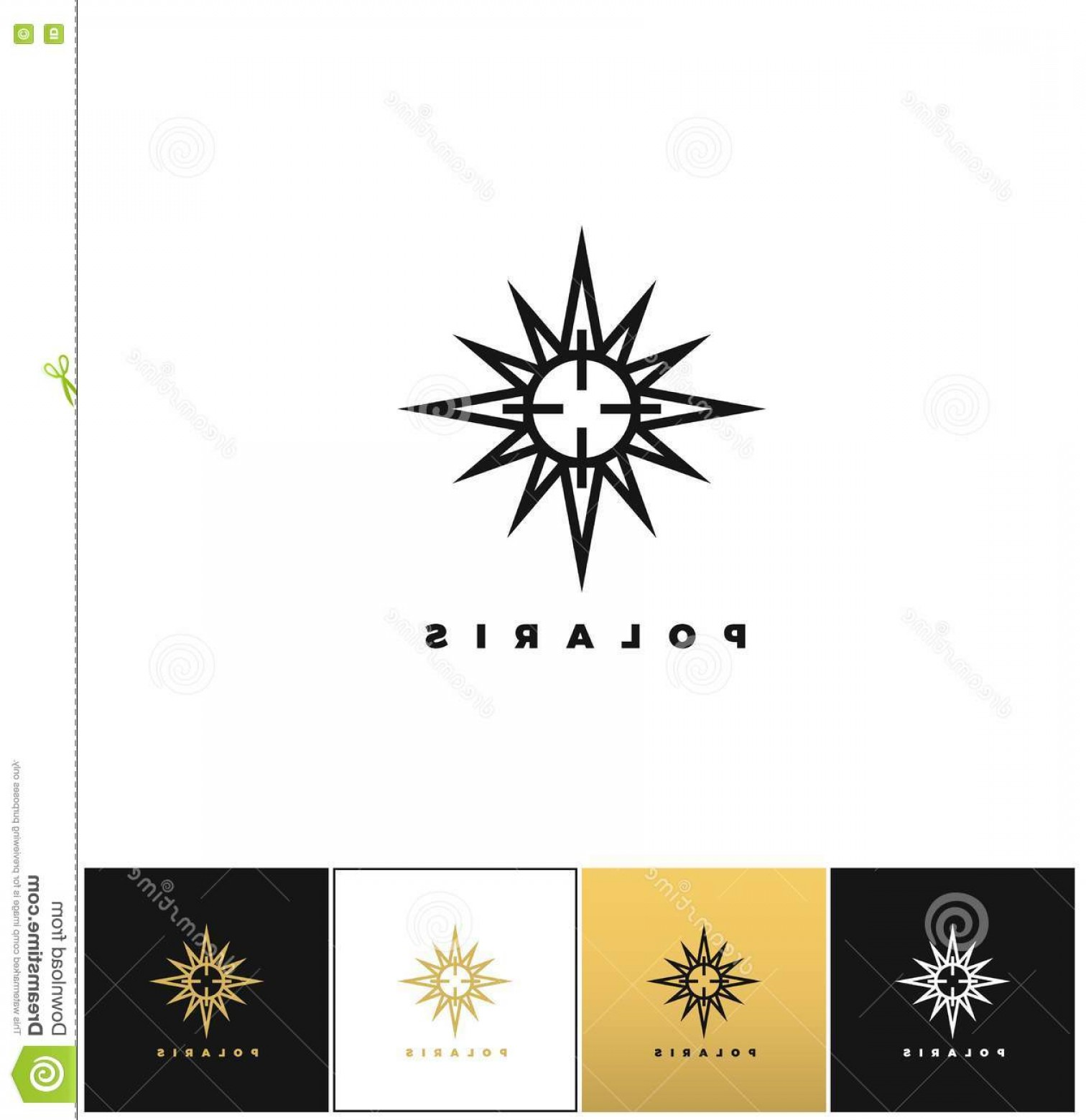 Polaris Star Logo Vector: Stock Illustration Abstract Space Star Logo Vector Icon Program Black White Gold Background Image