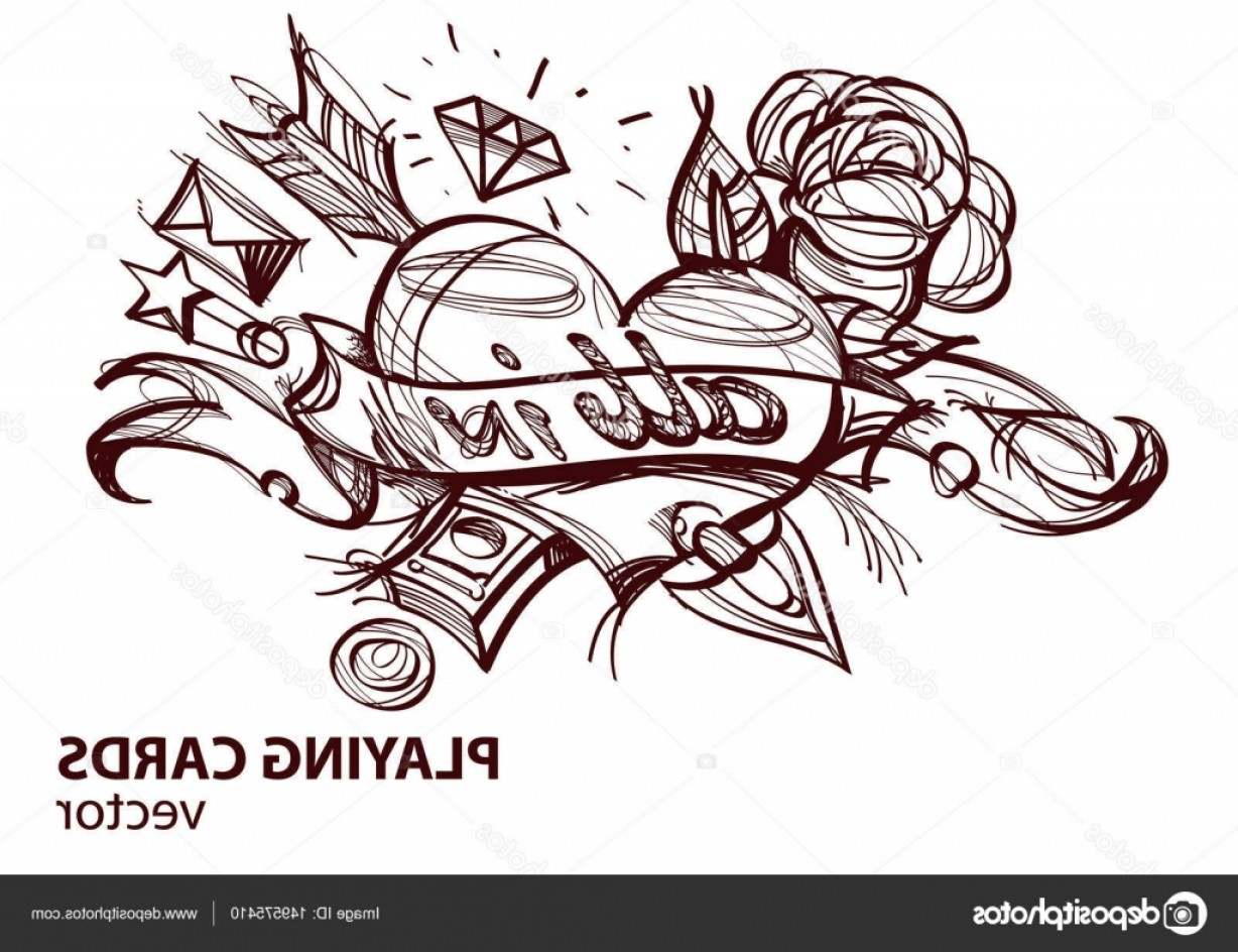 Card Suits Vector Outlines: Stock Illustration Ace Of Hearts Playing Card