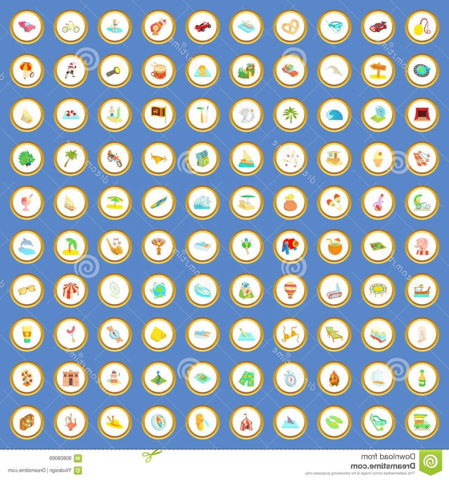 Adventure Time Vector: Stock Illustration Adventure Time Icons Set Cartoon Vector Circle Blue Background Style Illustration Image