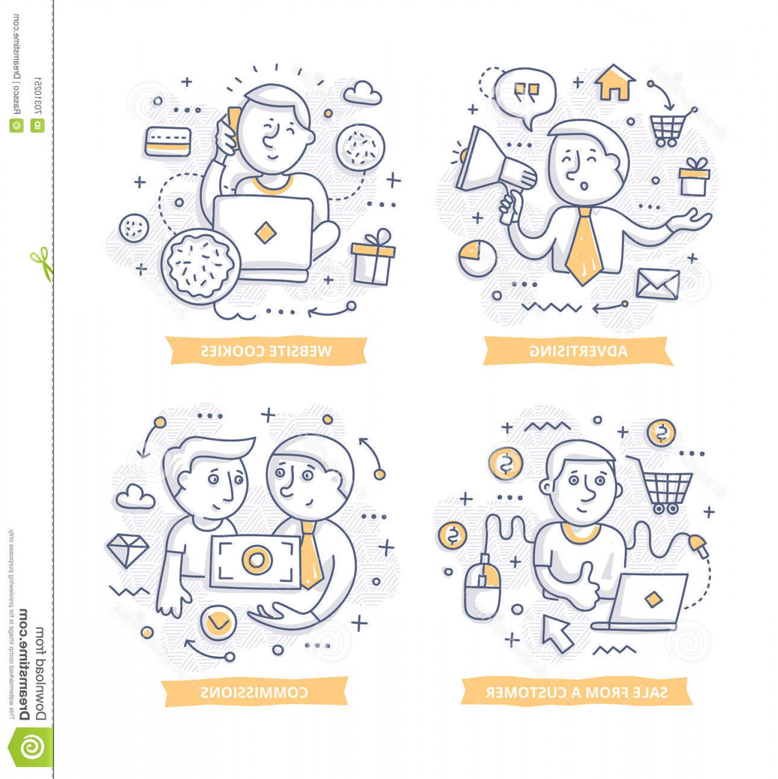 Vector Marketing Commission: Stock Illustration Affiliate Marketing Doodle Illustrations Promoting Companies Products Commission Concepts Telling Brand Story Image