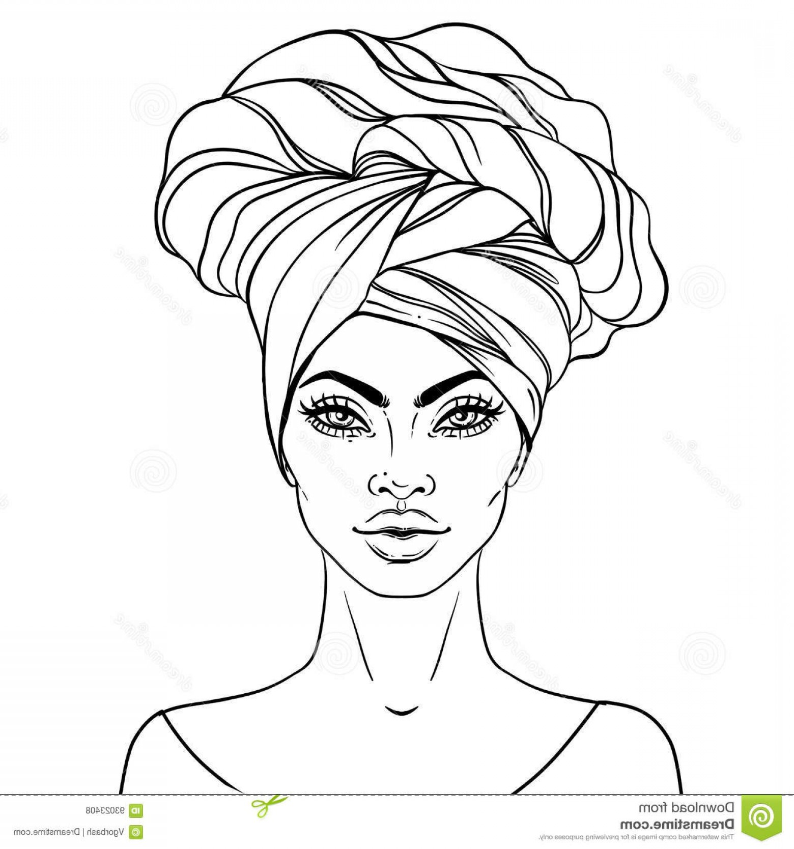 Black Woman Stock Vector: Stock Illustration African American Pretty Girl Vector Illustration Black Woman Glossy Lips Turban Great Avatars Image