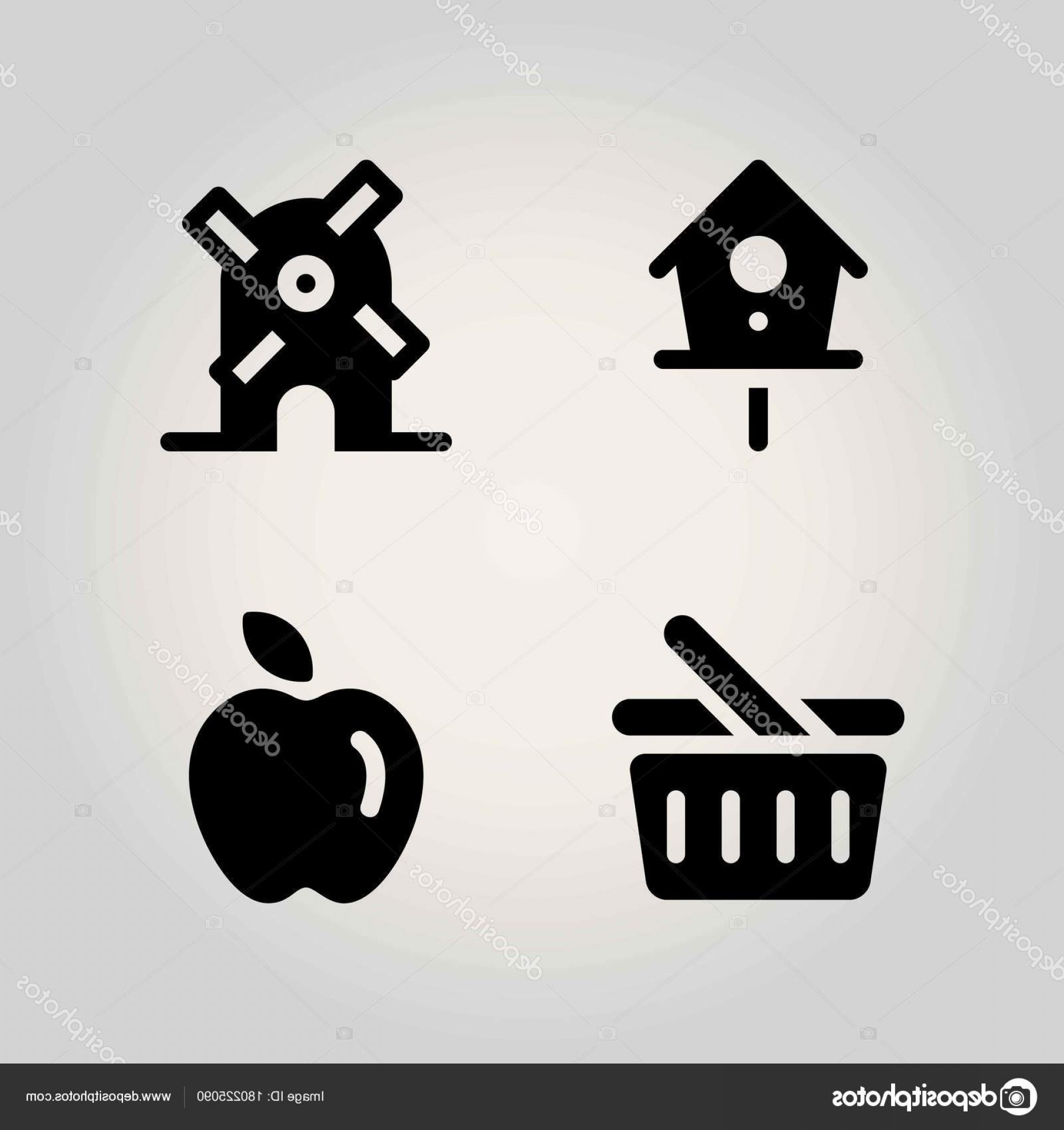 Agriculture Vector Icons: Stock Illustration Agriculture Vector Icon Set Birdhouse