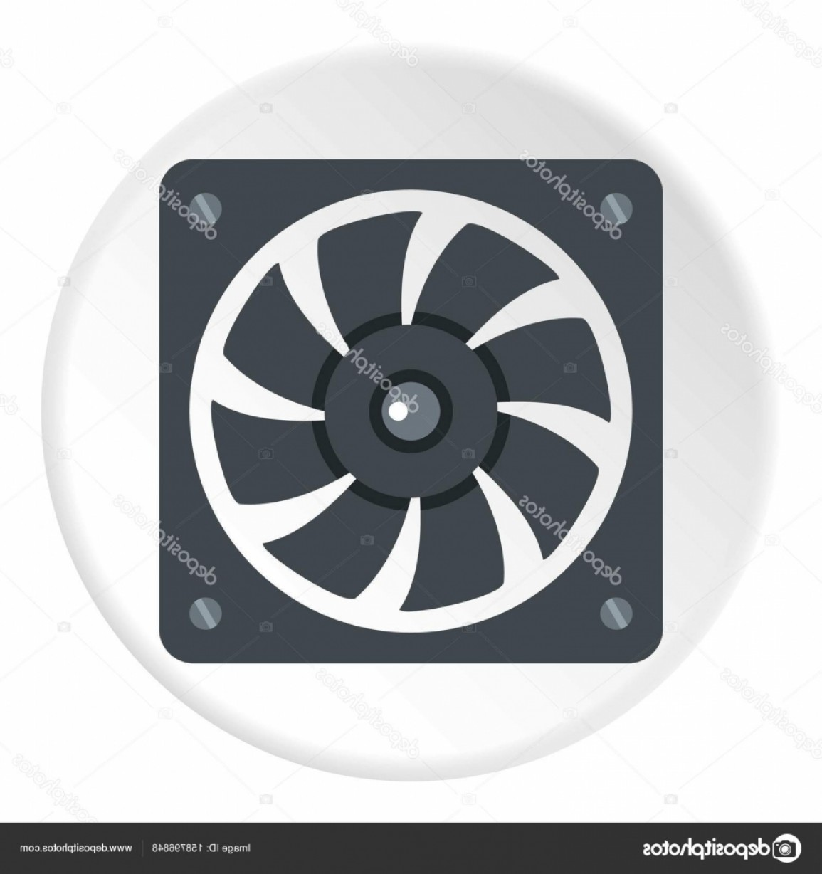 Vector Power On Board Compressor: Stock Illustration Air Conditioner Compressor Unit Icon