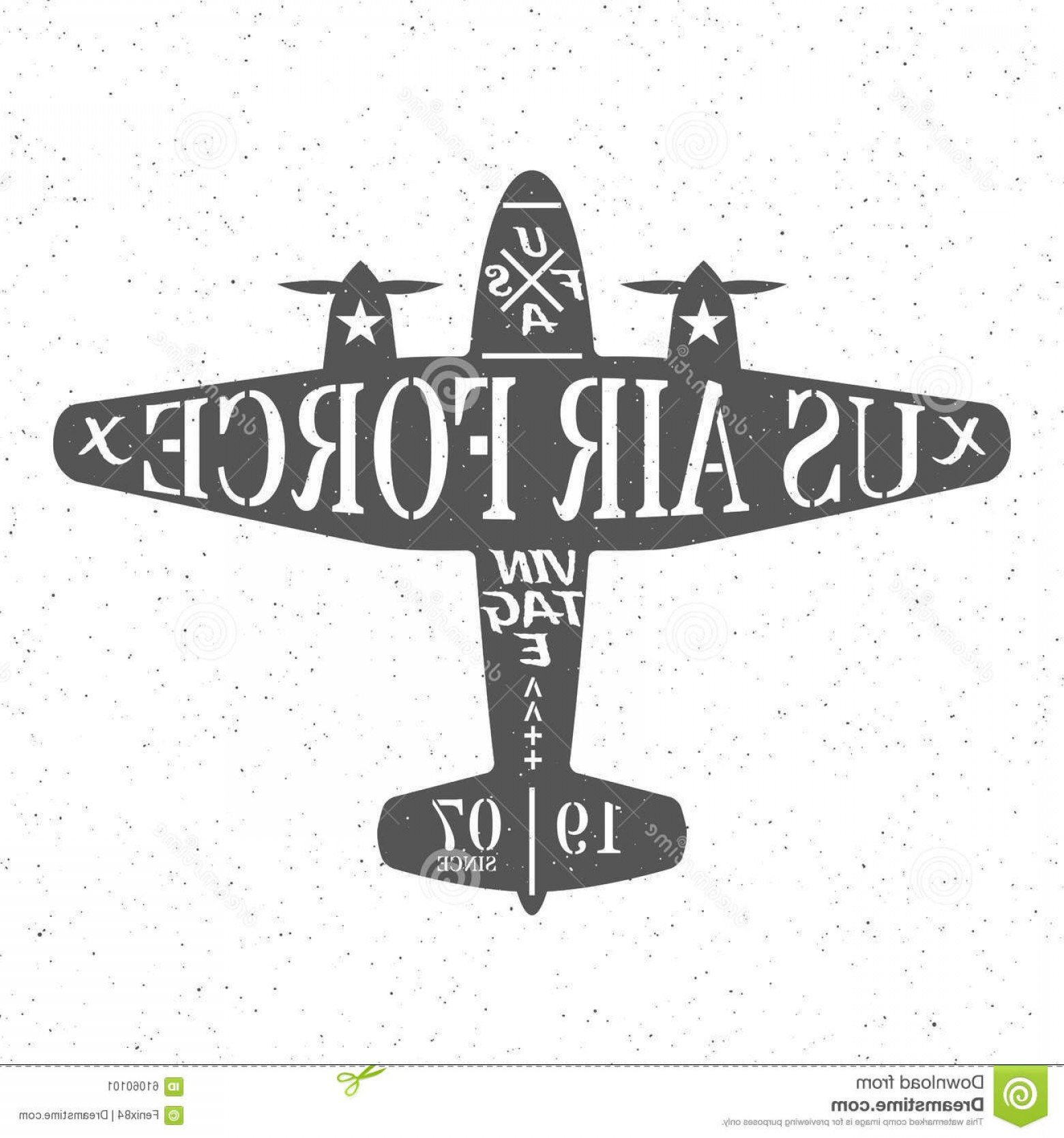USAF Vector: Stock Illustration Air Force United States Silhouette Military Plane Inscriptions Vintage Style White Stars Board Grunge Image
