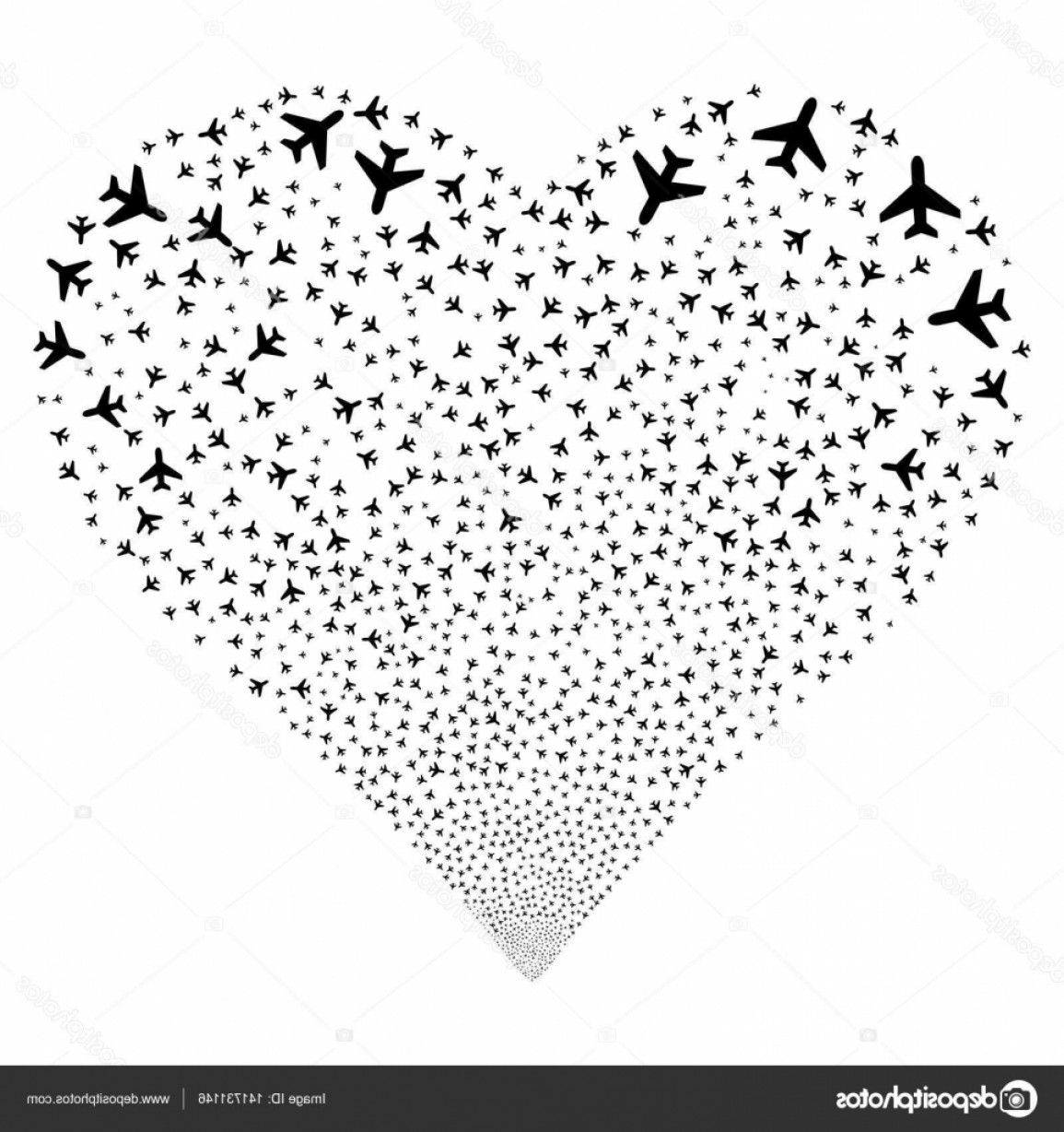 Black Heart And Plane Vector: Stock Illustration Air Plane Fireworks Heart