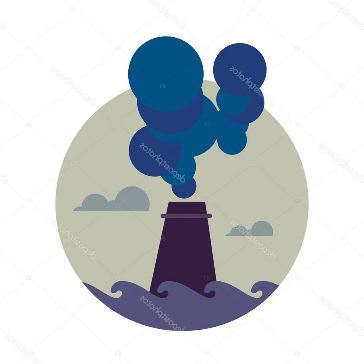 Vector Smokestack: Stock Illustration Air Pollution Banner Factory With