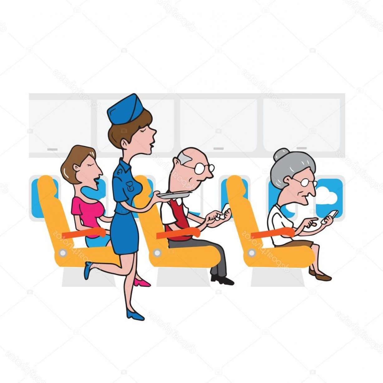 Vector Man Working In Cabin: Stock Illustration Airplane Cabin Passengers And Air
